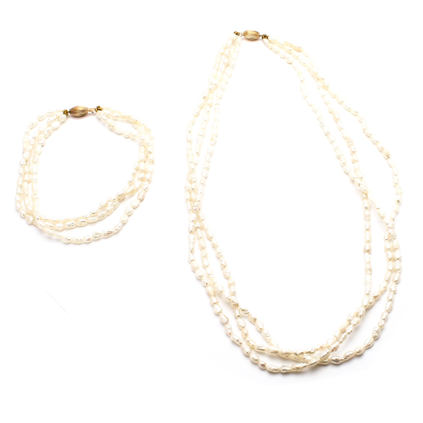 14K Gold and Cultured Freshwater Pearl Necklace and Bracelet