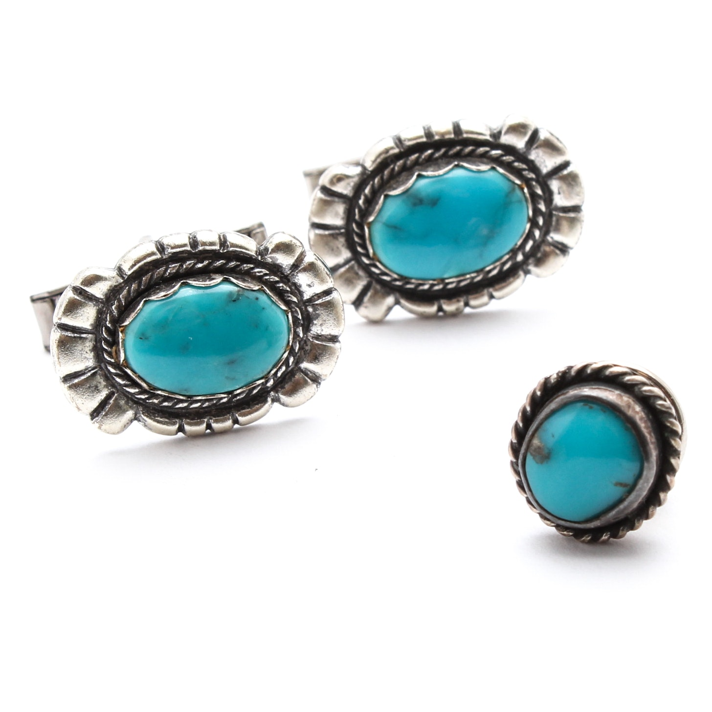 Sterling Silver and Dyed Turquoise Cufflinks and Tie Tack