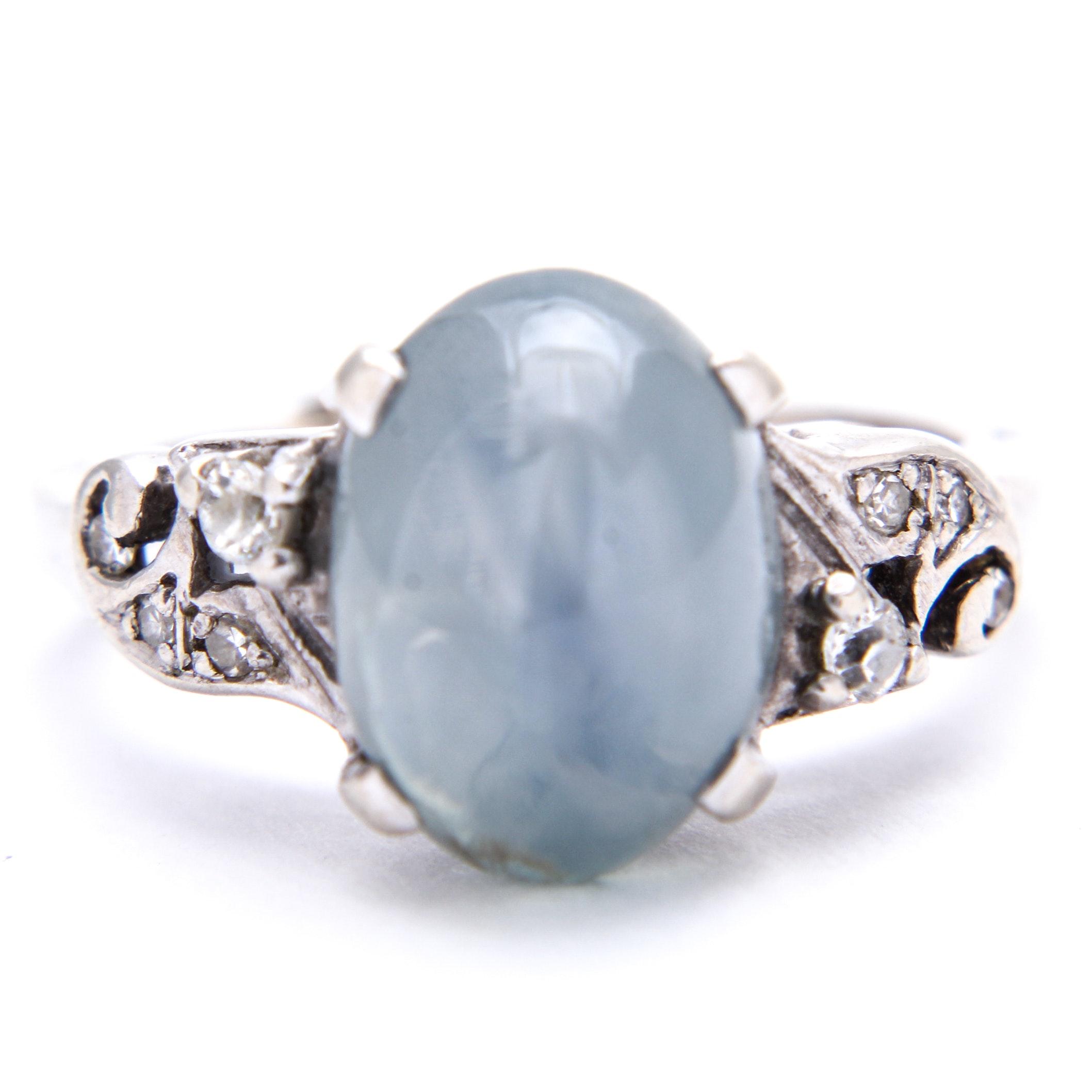 14K White Gold, Star Sapphire and Diamond Ring