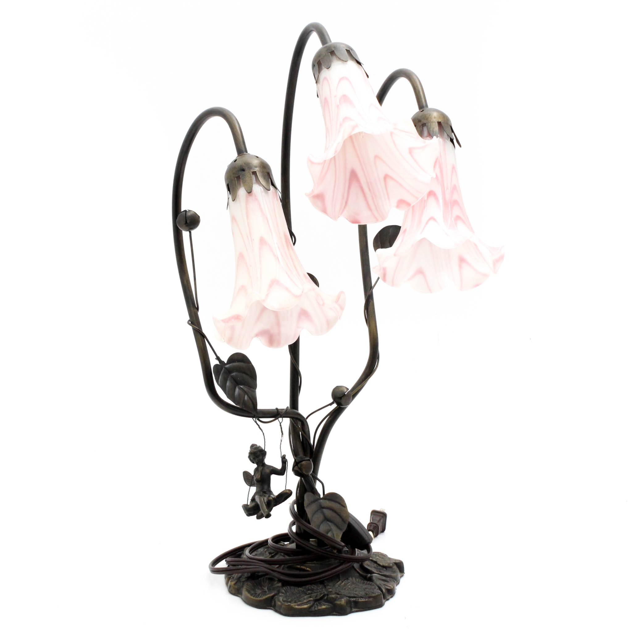 Art Nouveau Style Metal Desk Lamp with Tulip Glass Shades