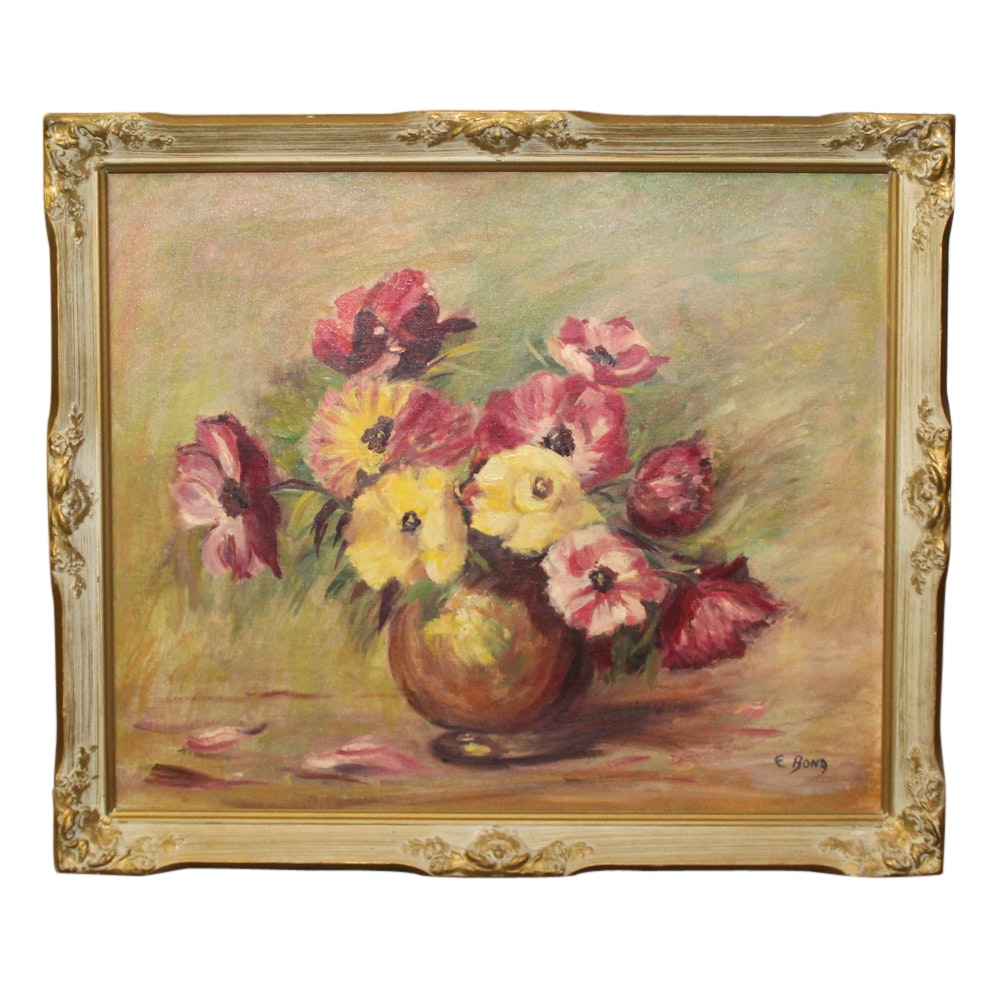 E. Bond Oil Painting of Floral Bouquet