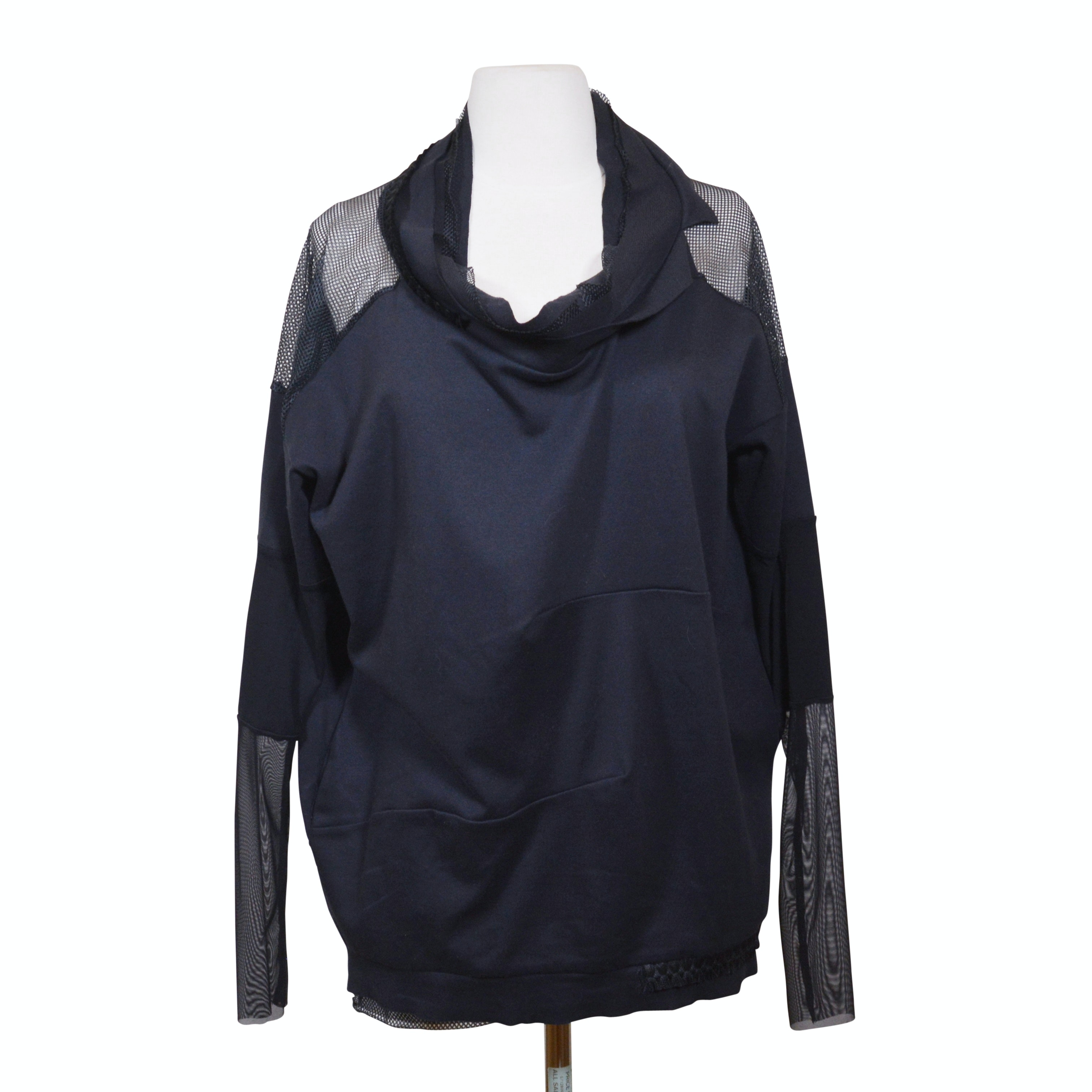 Art Point Netting and Fabric Long Sleeve Top