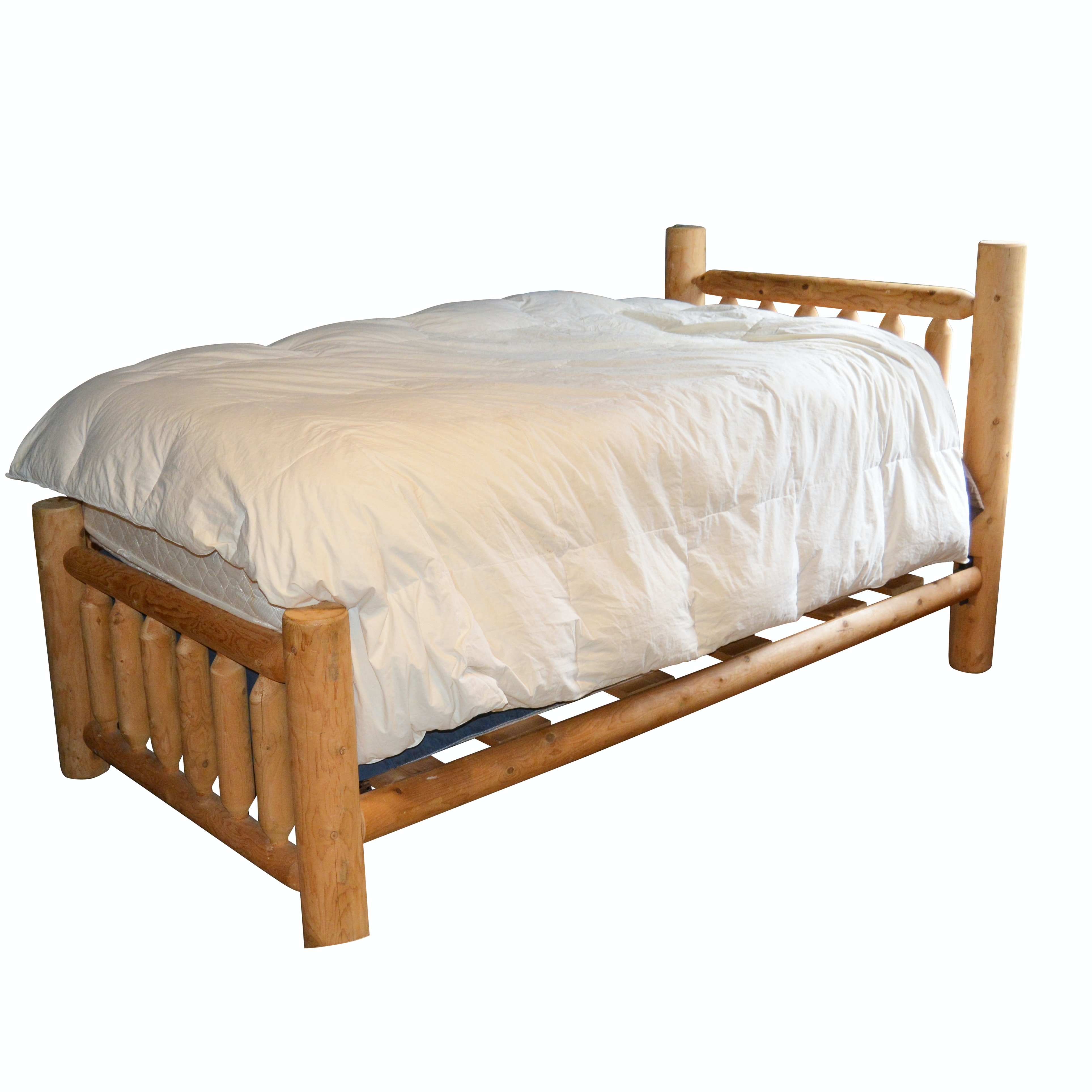 Rustic Pine Log Twin Bed, Late 20th Century