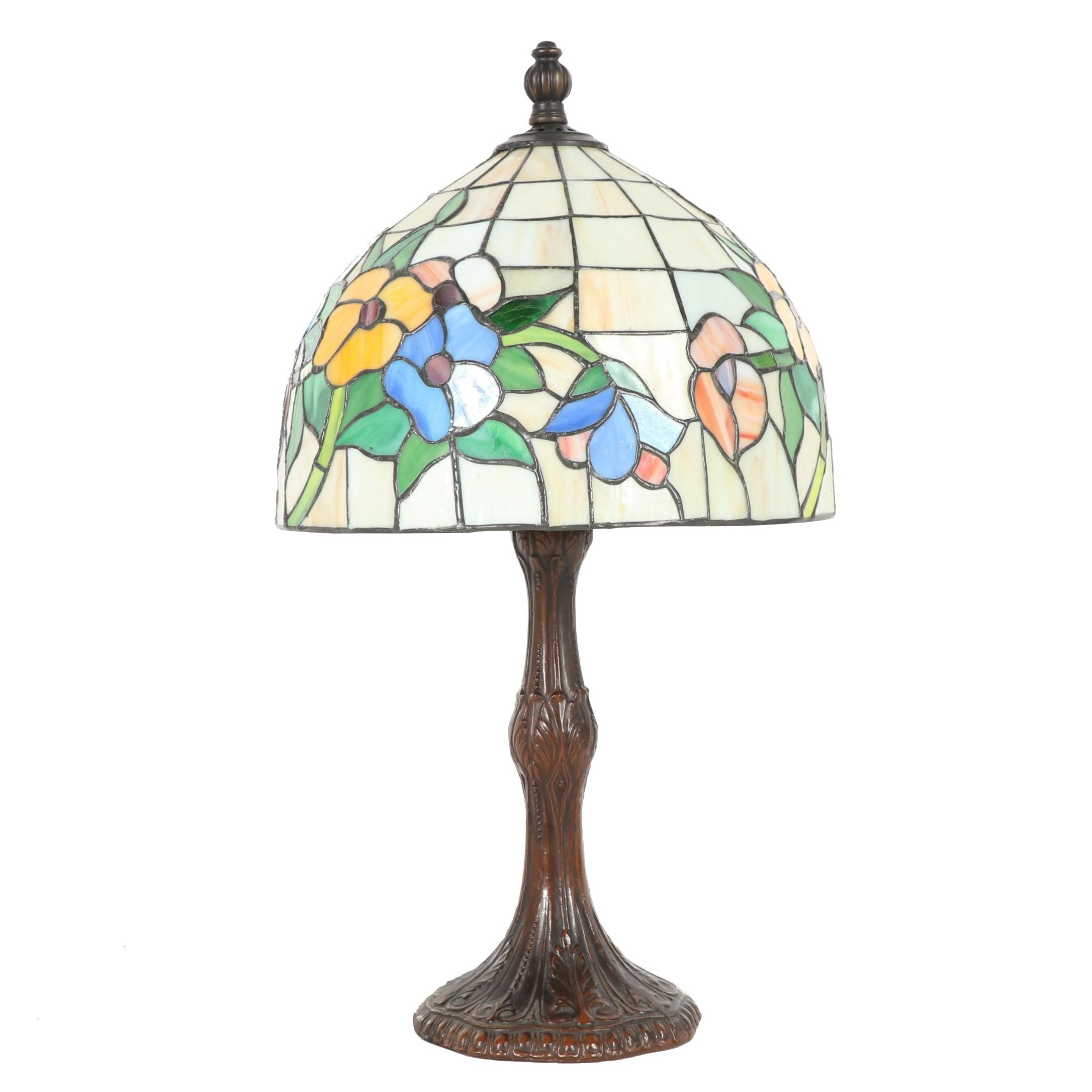 Bronze Table Lamp With Leaded Glass Shade, Late 20th Century