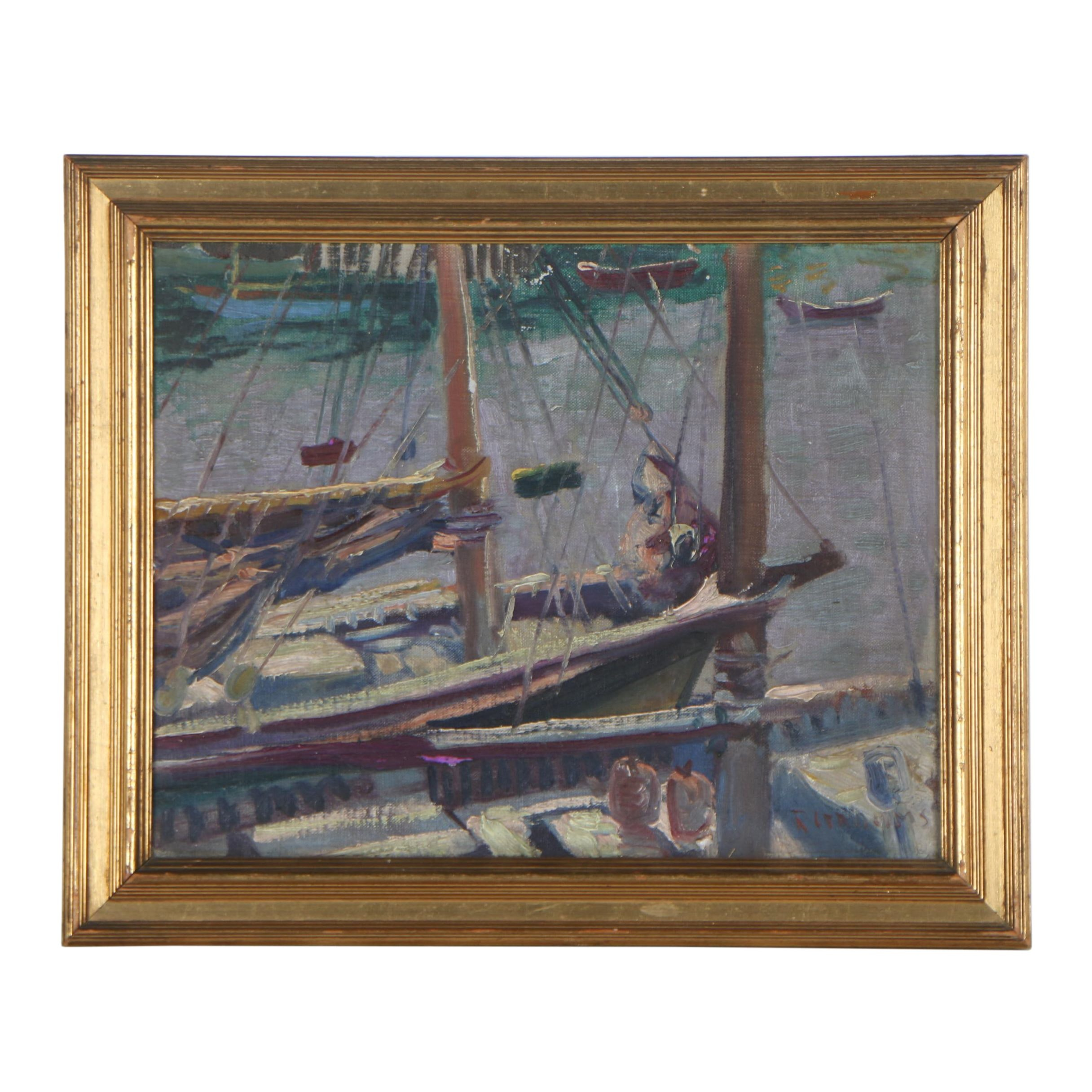 Reginald Grooms Oil Painting of Sailboats