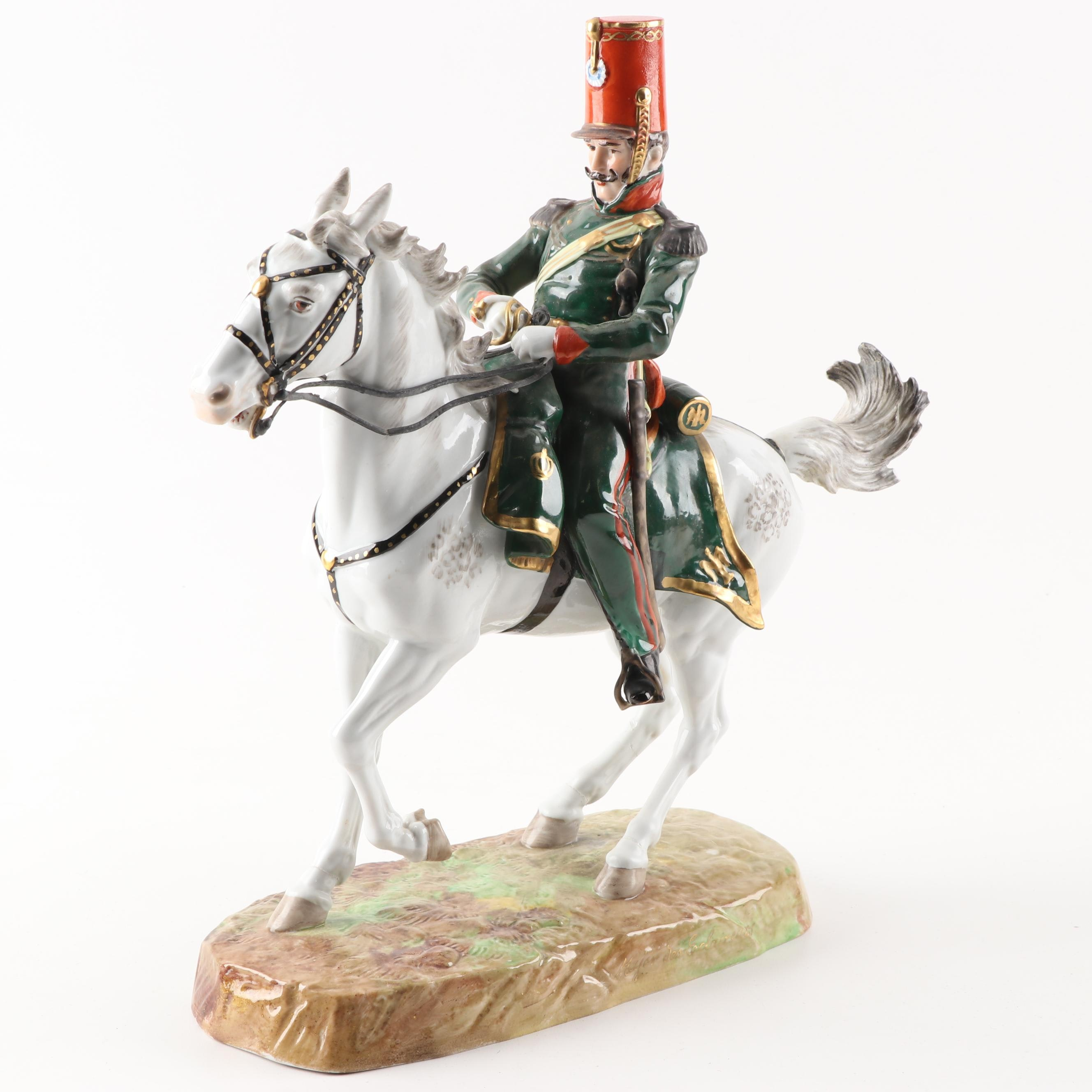 Dresden Porcelain Major Des Eclaireurs Figurine