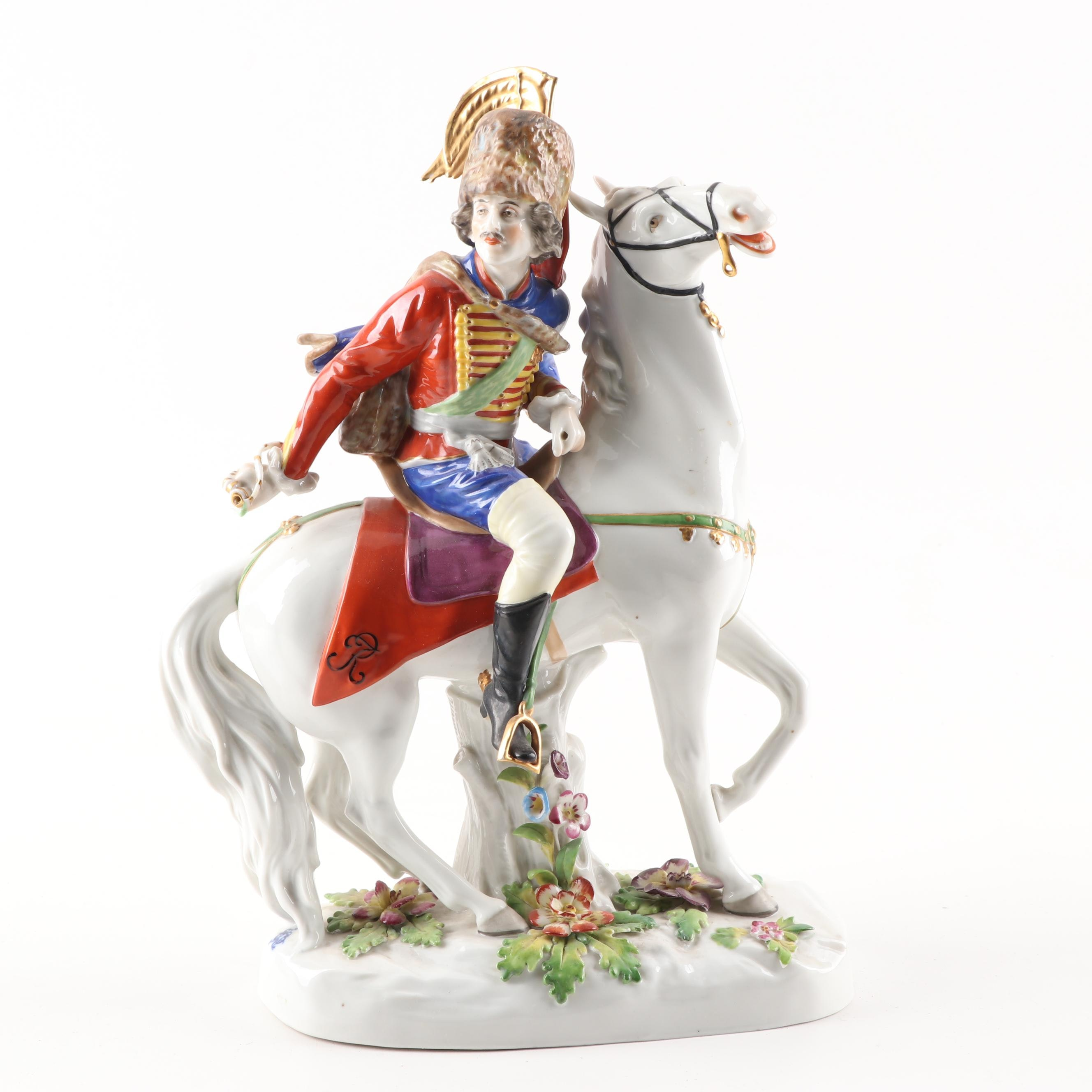 German Porcelain Military Figurine Attributed to Volkstedt, Hussar, Early 20th C