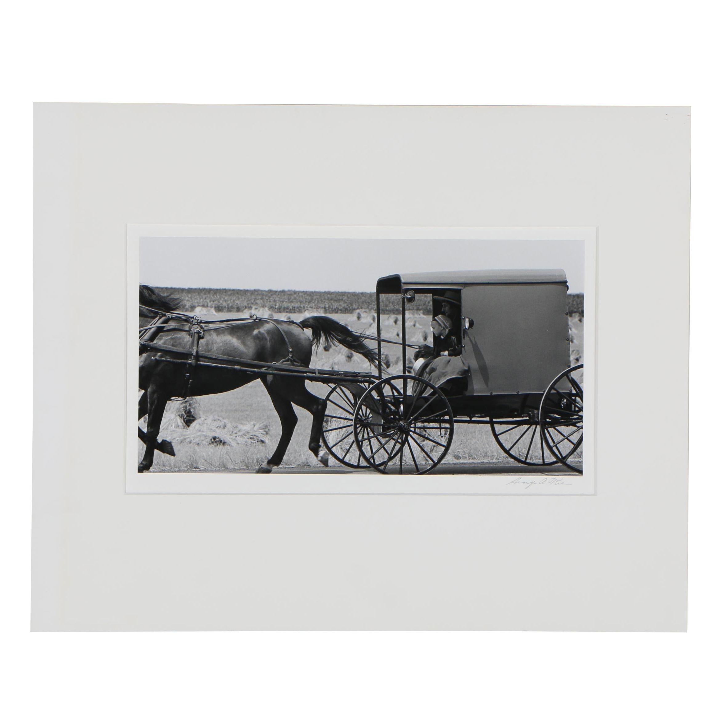 """George Tice Gelatin Silver Photograph """"Amish Father and Daughter in Buggy"""", 1995"""