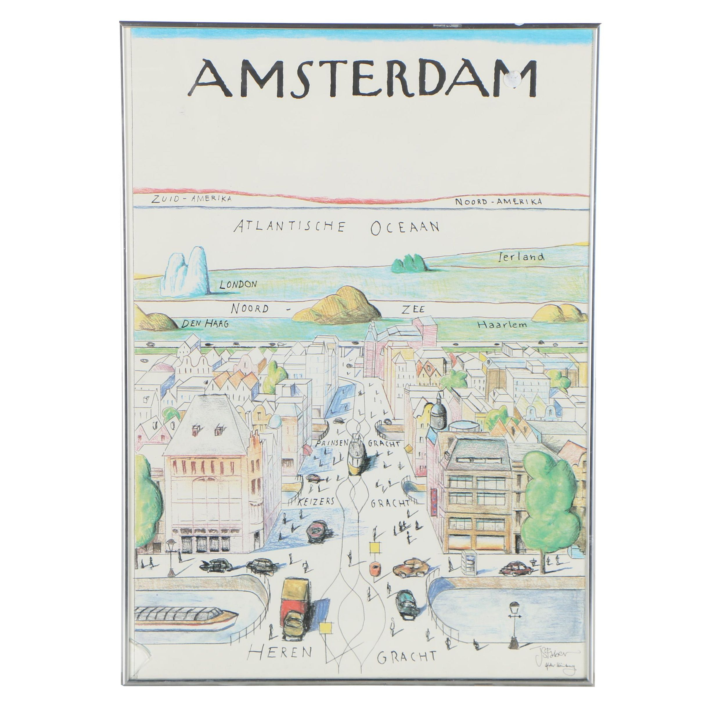 "Offset Lithograph after Saul Steinberg ""Amsterdam"""