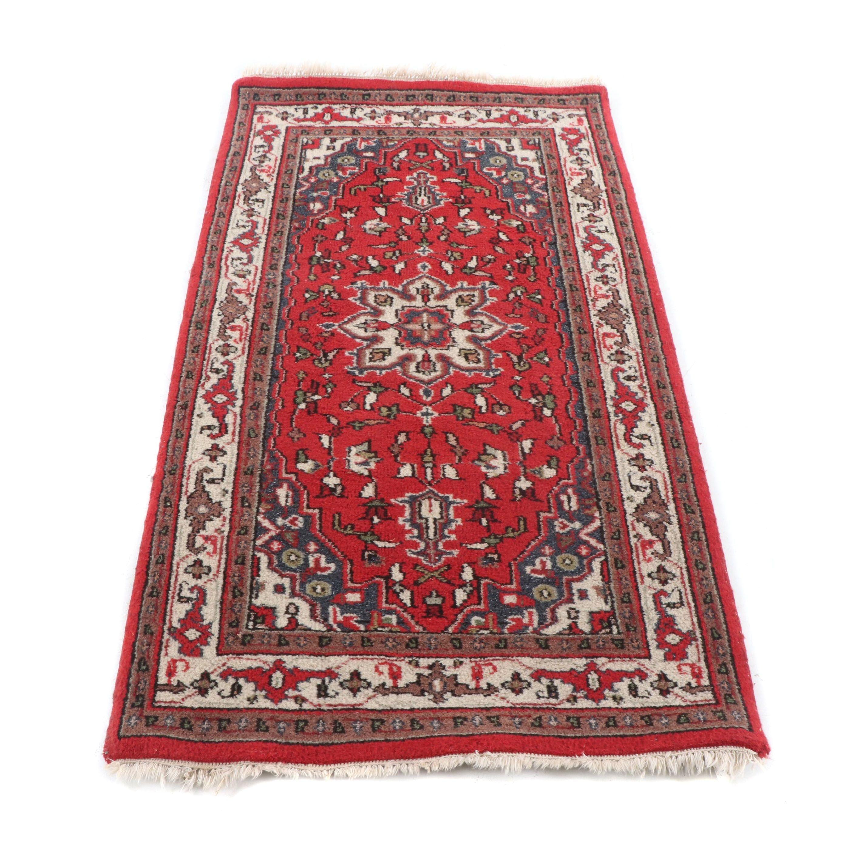 Hand Loomed Indo-Persian Heriz Wool Accent Rug