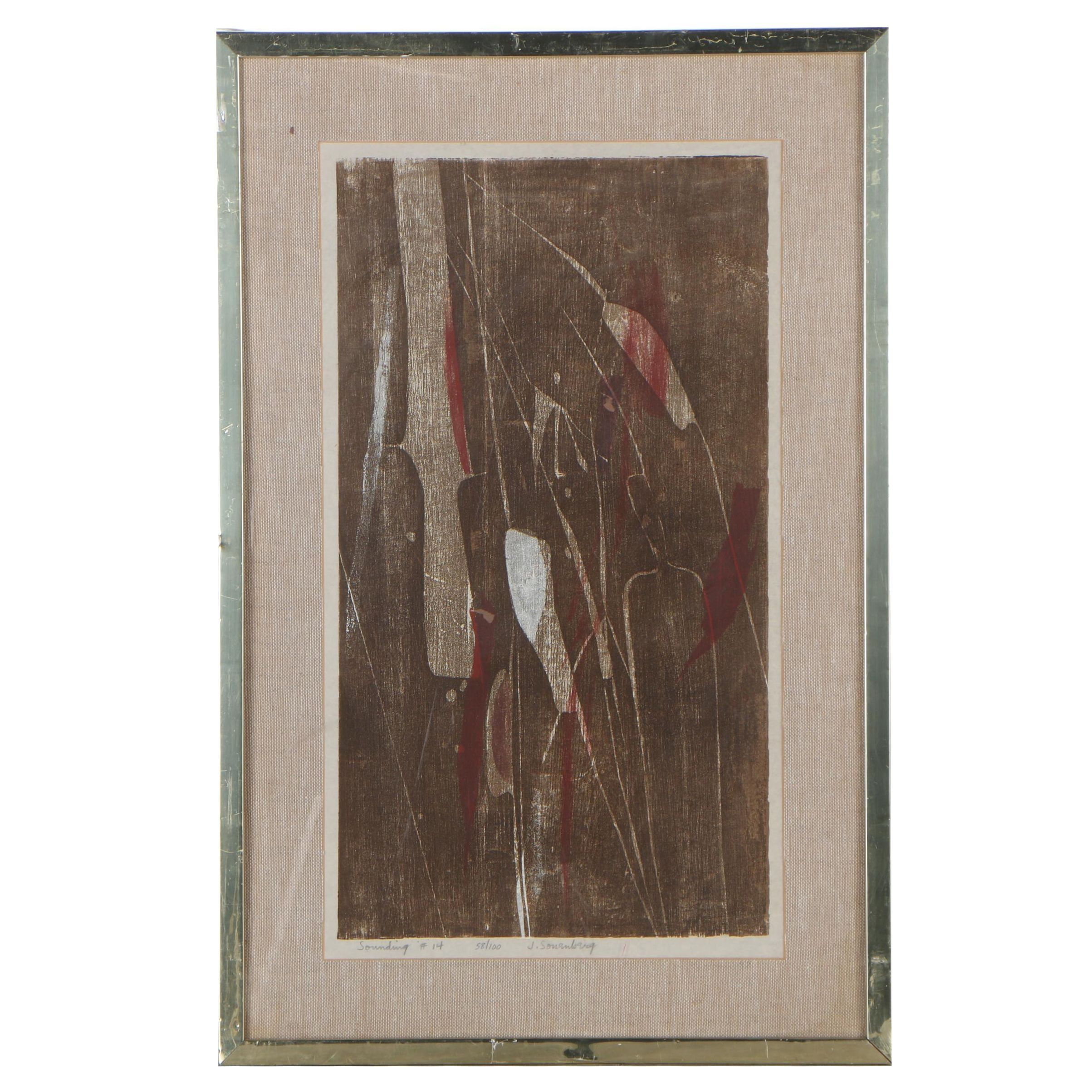 "Jack Sonenberg Woodblock ""Sounding #14"""