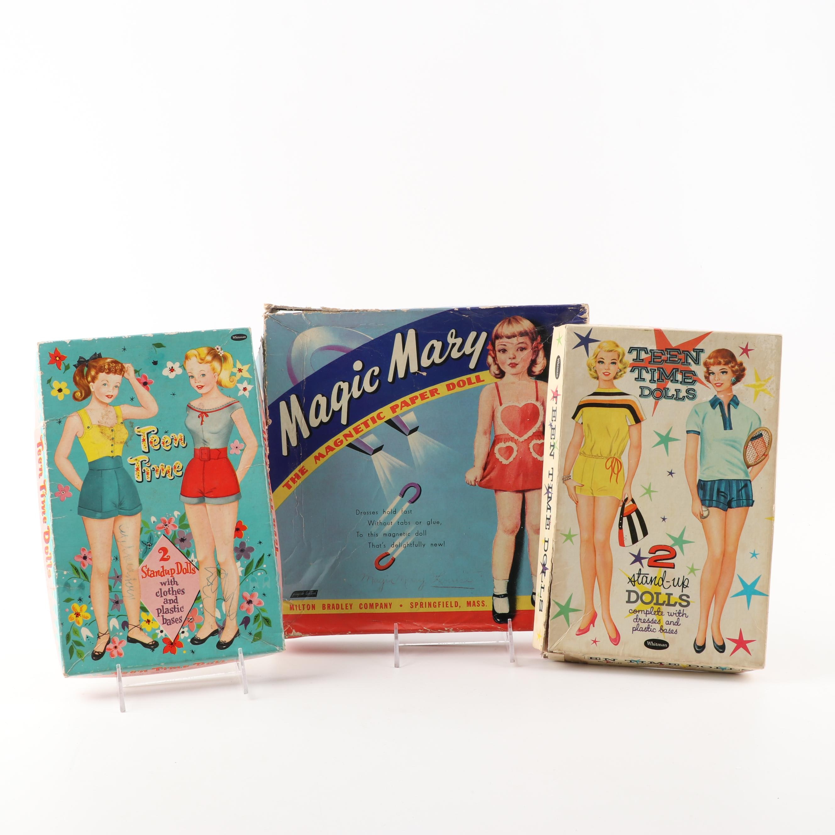Vintage Teen Times Stand-up Dolls and Magic Mary Magnetic Paper Doll
