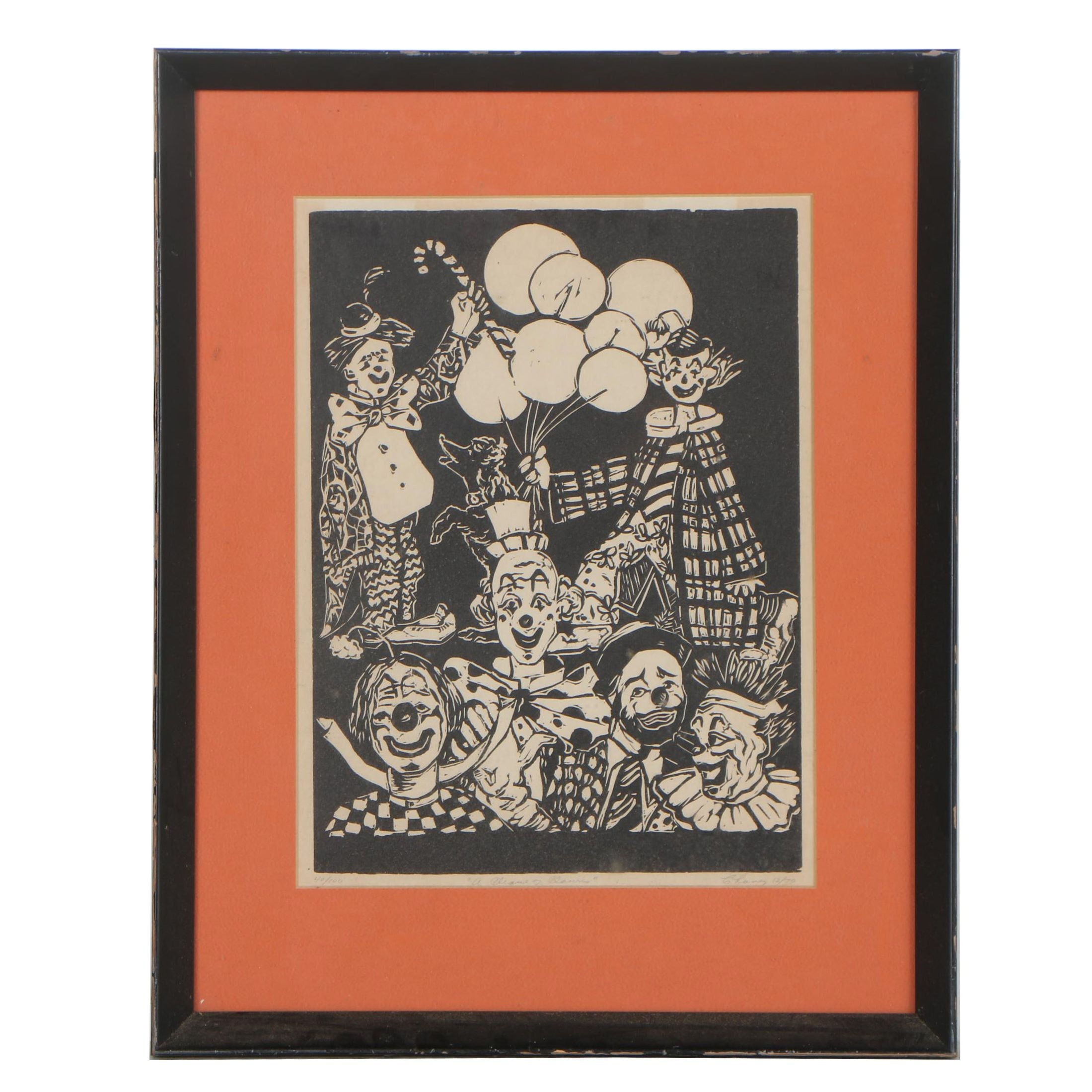 "Late 20th Century Woodblock Print ""A Clique of Clowns"""
