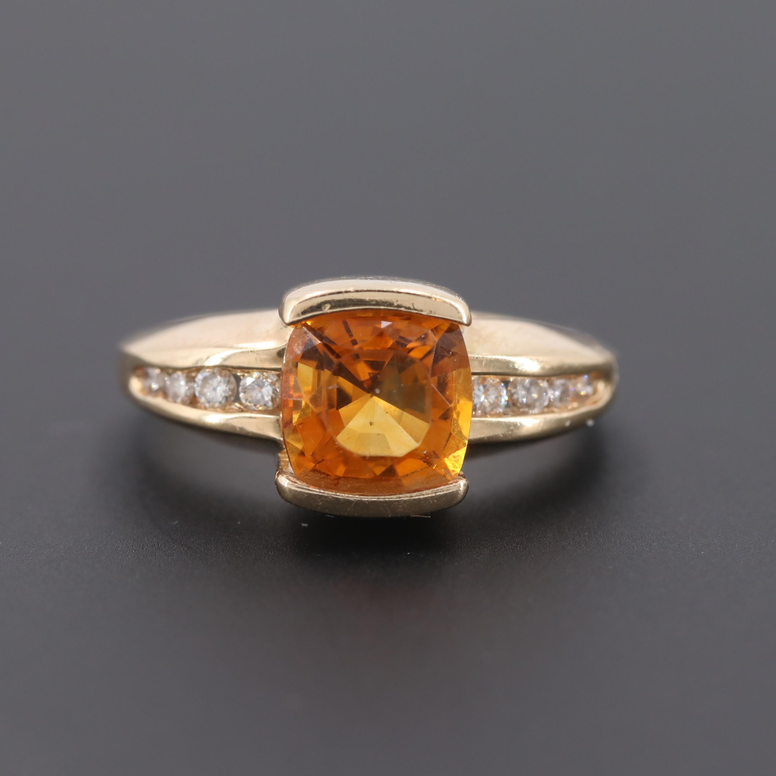 14K Yellow Gold Citrine and DiamondRing