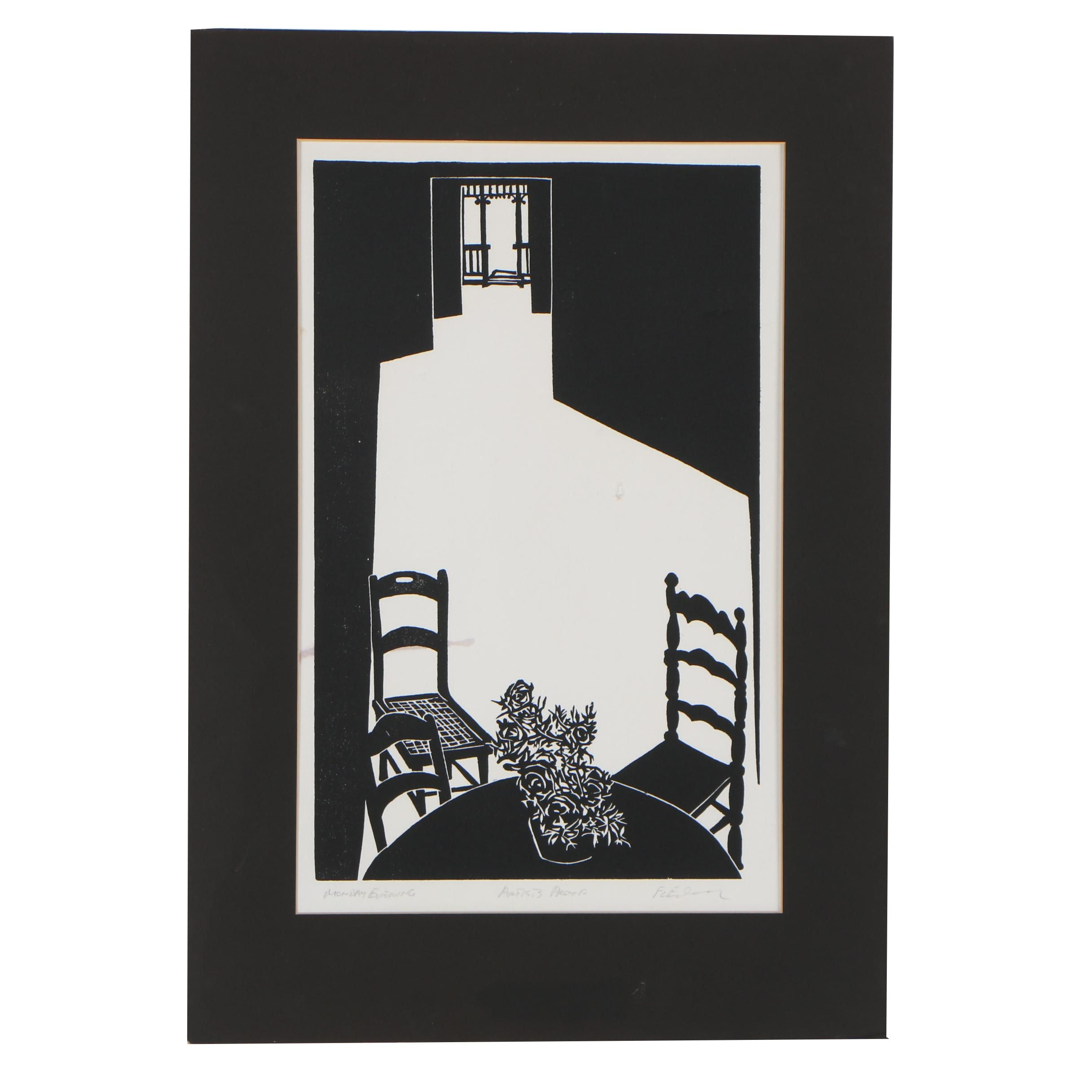 "Frank C. Eckmair Artist's Proof Woodcut ""Monday Evening"""