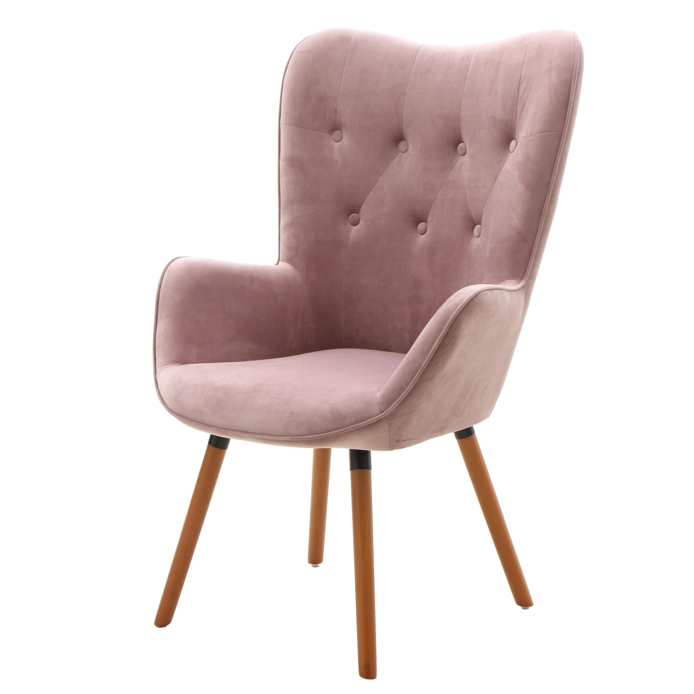 Button Tufted Upholstered Arm Chair in Lilac