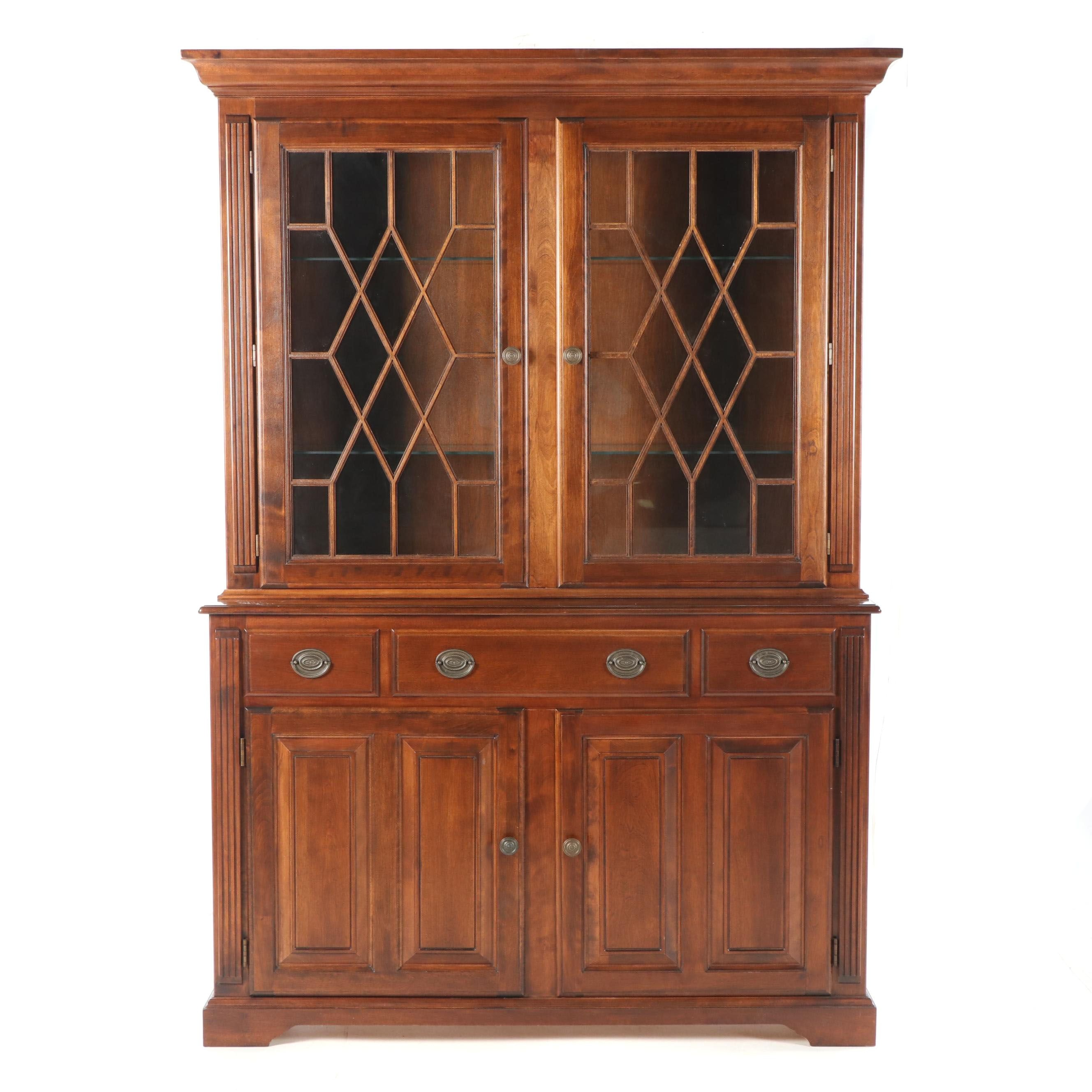 Federal Style Mahogany Illuminated China Cabinet by Nichols & Stone, 21st C.