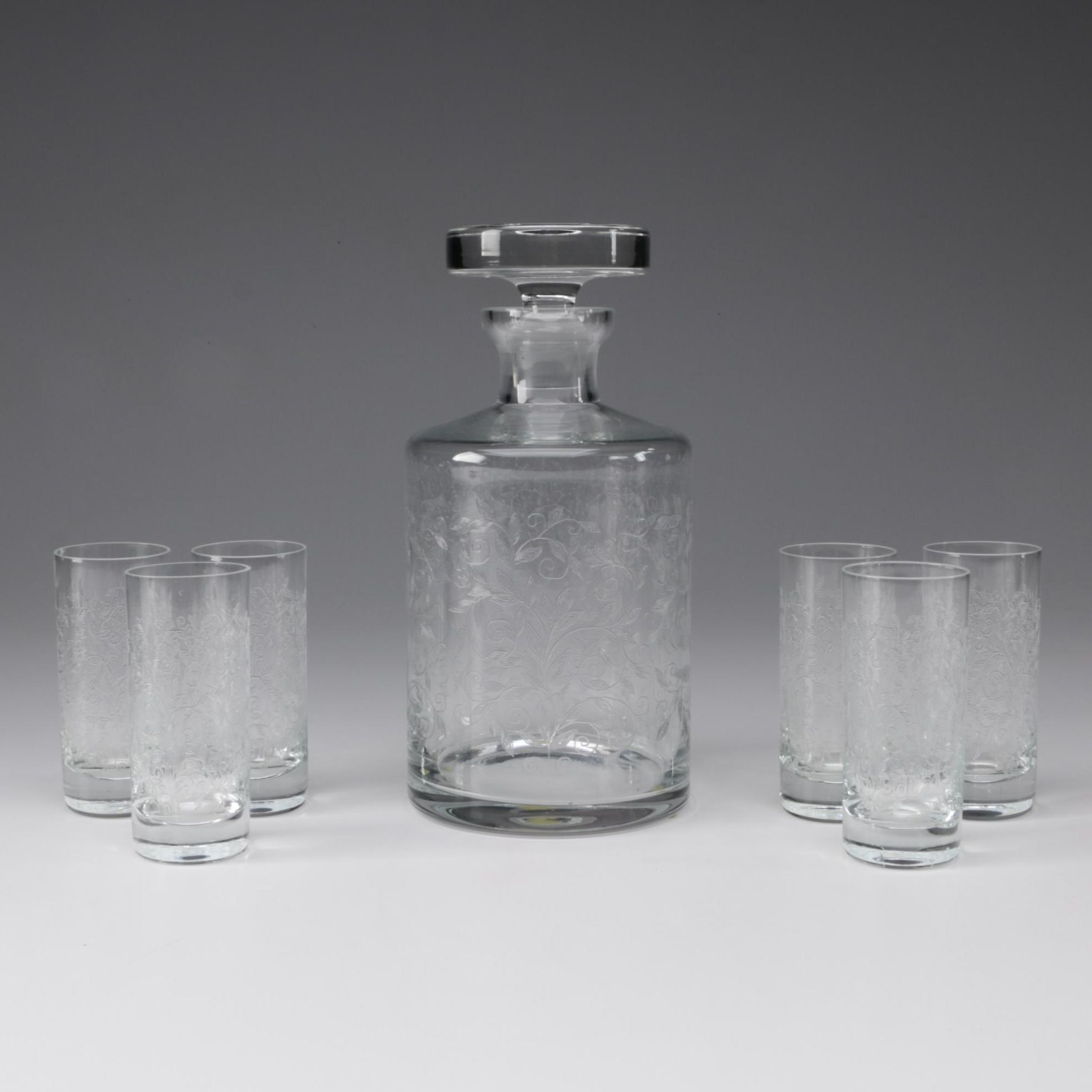 Crystal Decanter and Cordial Glasses with Foliate Design