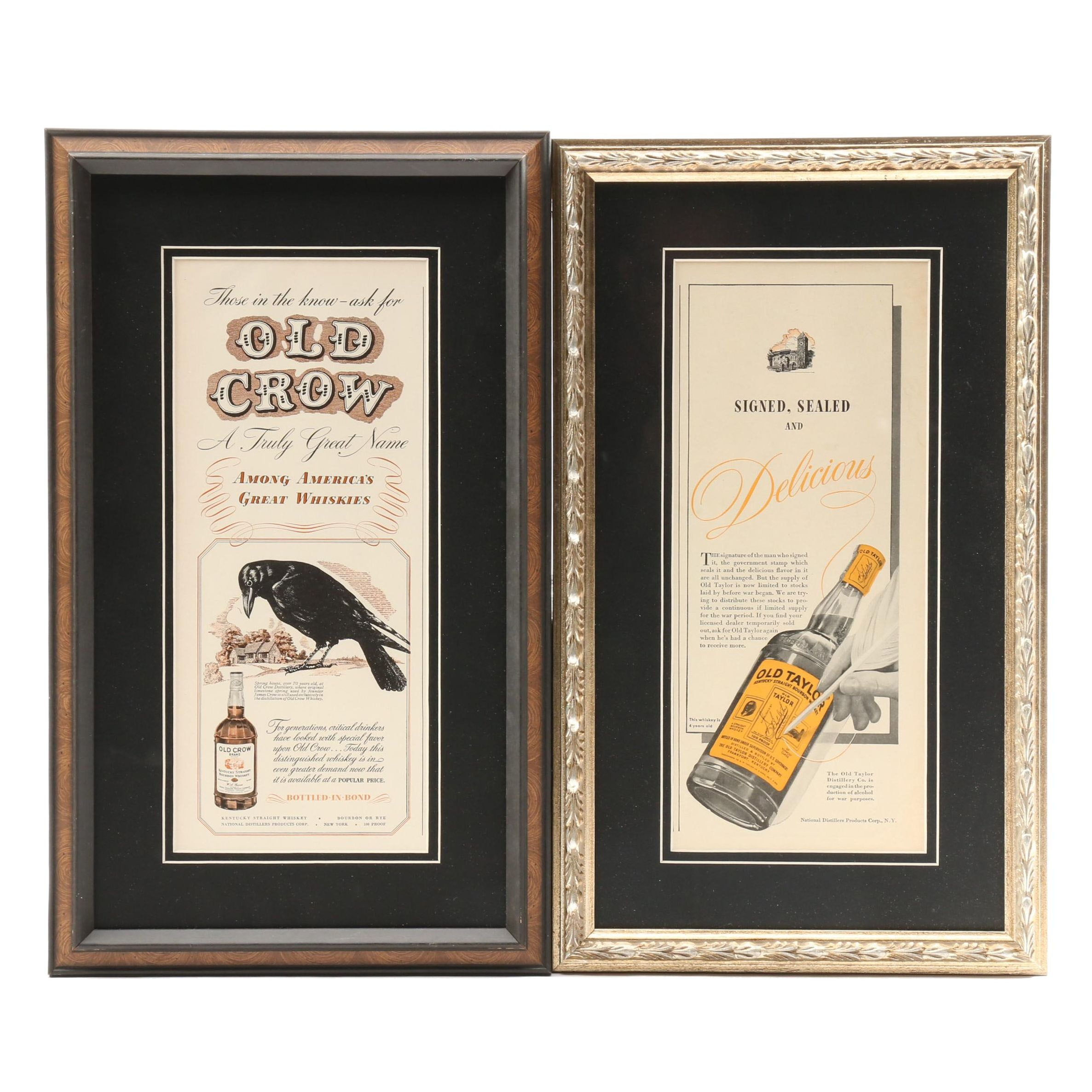 Vintage Advertisements for Old Crow and Old Taylor Bourbon