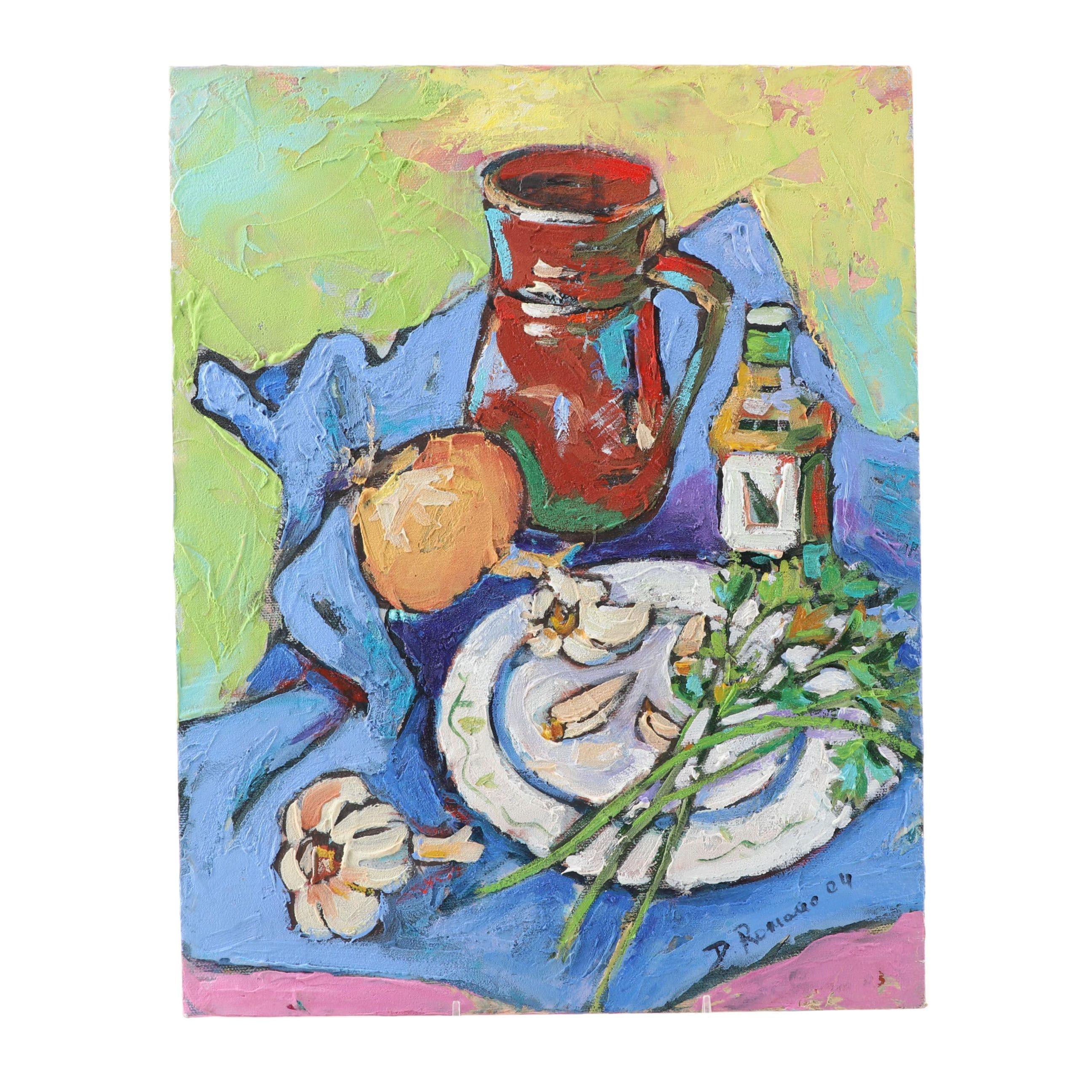 "Domenico Romano Acrylic Painting ""Tovaglia Blu"""