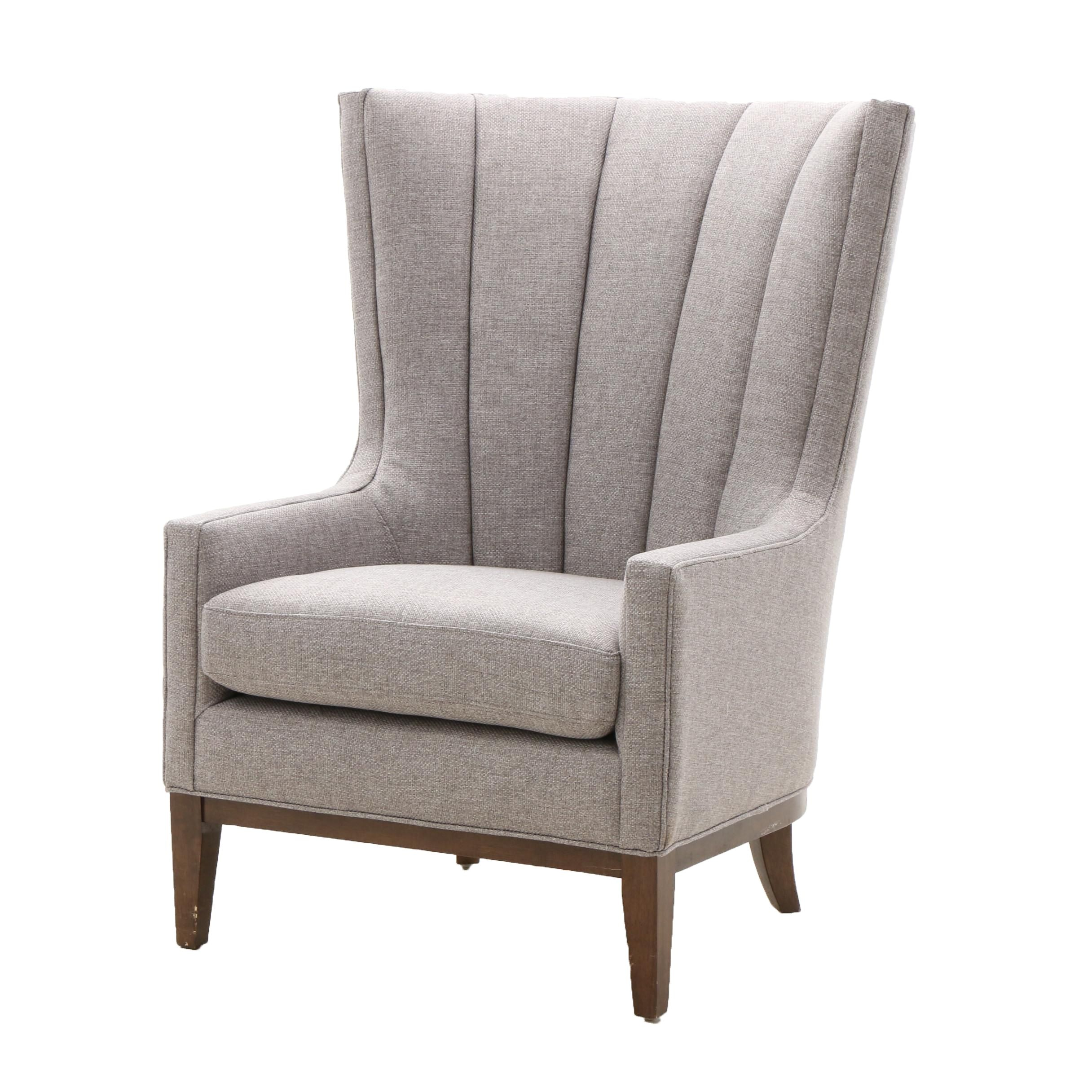 Contemporary Upholstered High Back Arm Chair in Grey