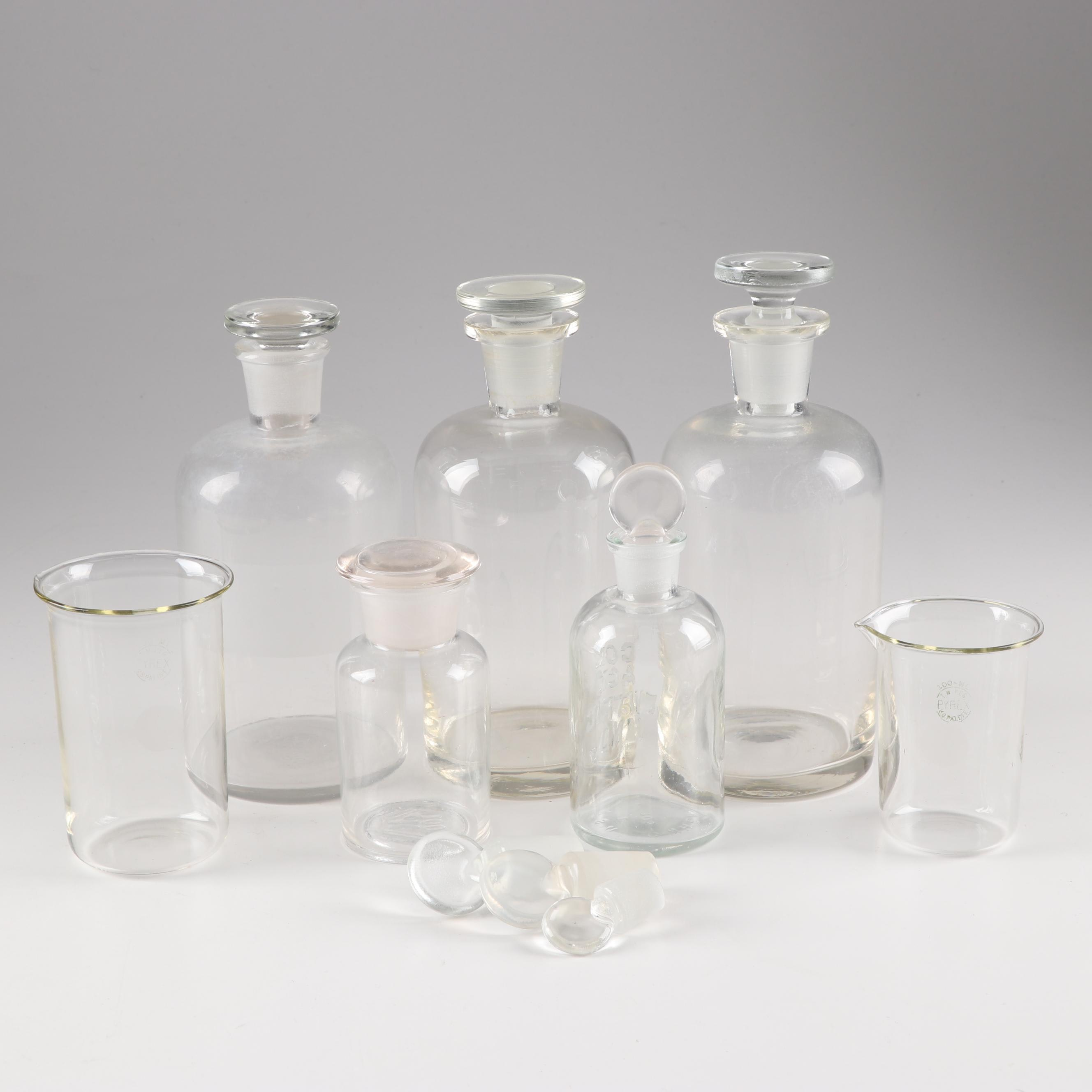Glass Apothecary Bottles Beakers and Stoppers