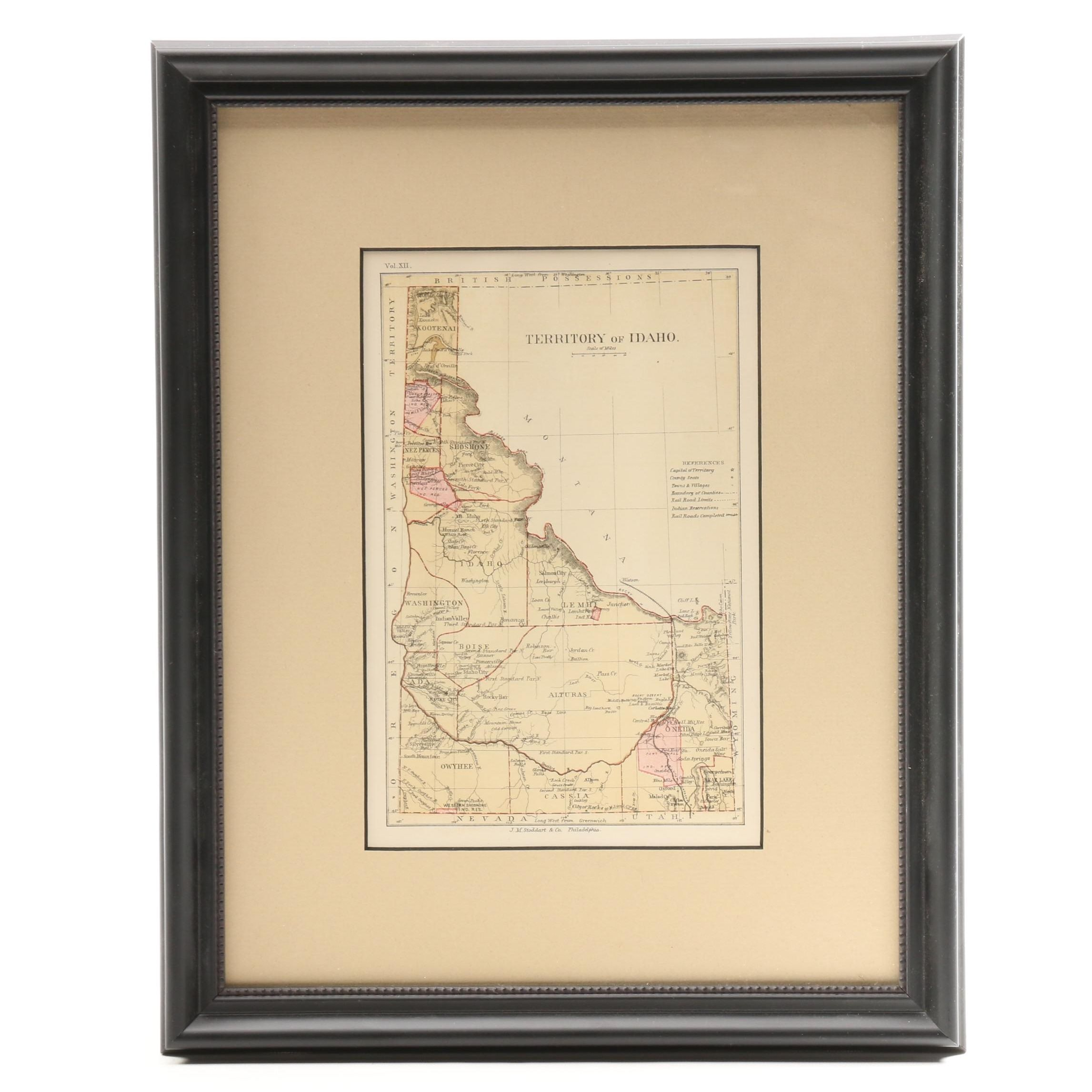 "Antique Map ""Territory of Idaho"""