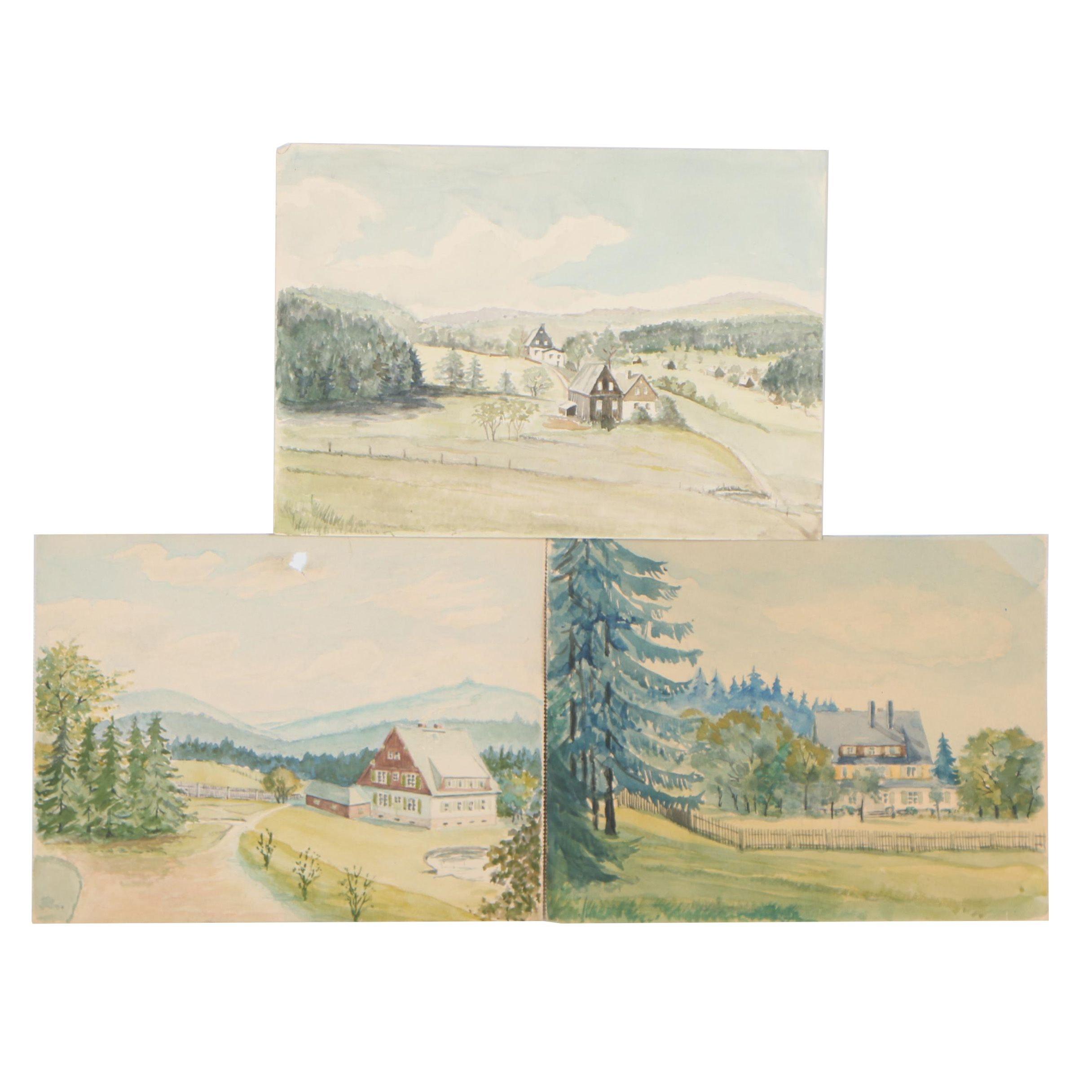 Late 20th Century German Landscape Watercolor Paintings