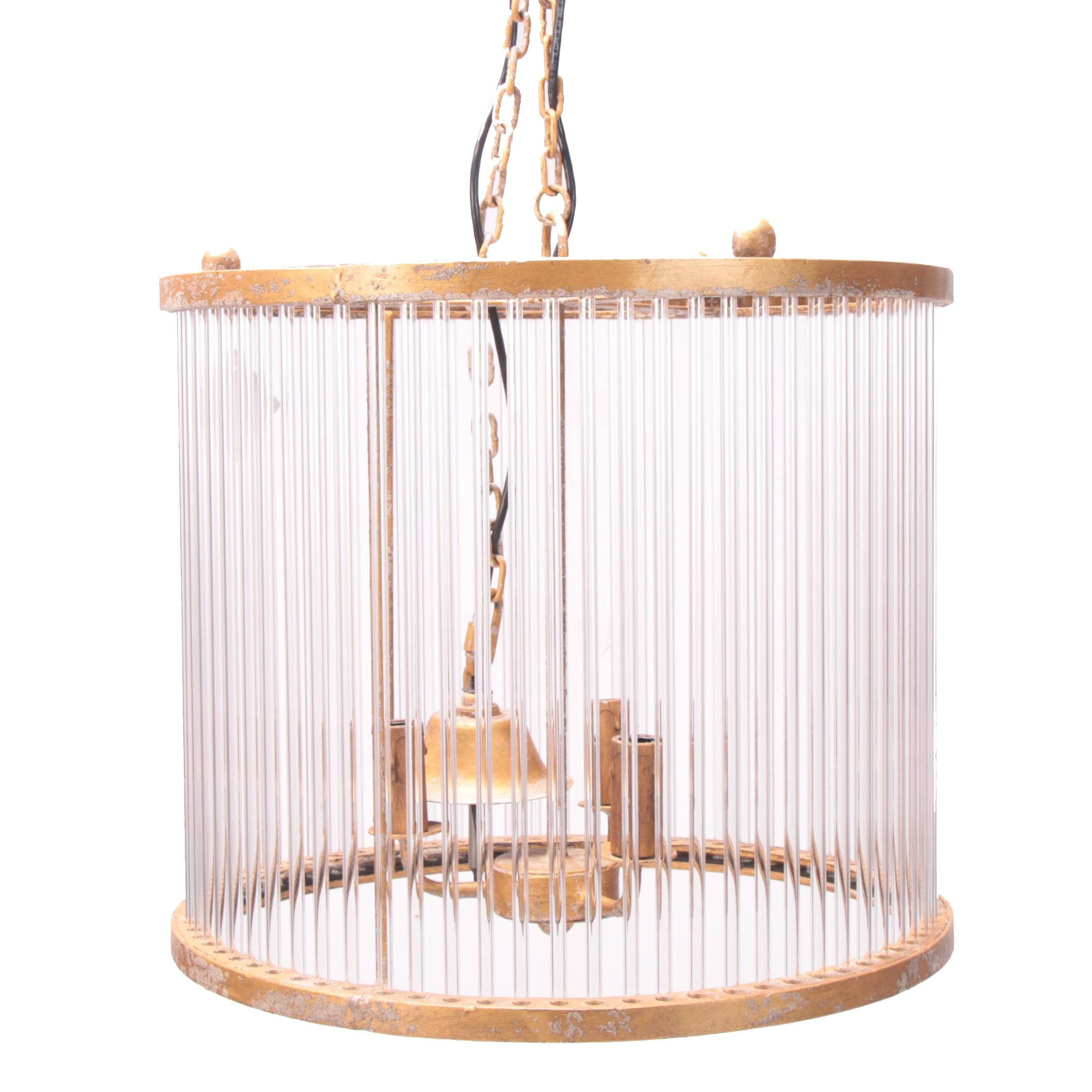 "Hollywood Regency Style ""Milano"" Gold Tone Metal and Glass Cylinder Chandelier"