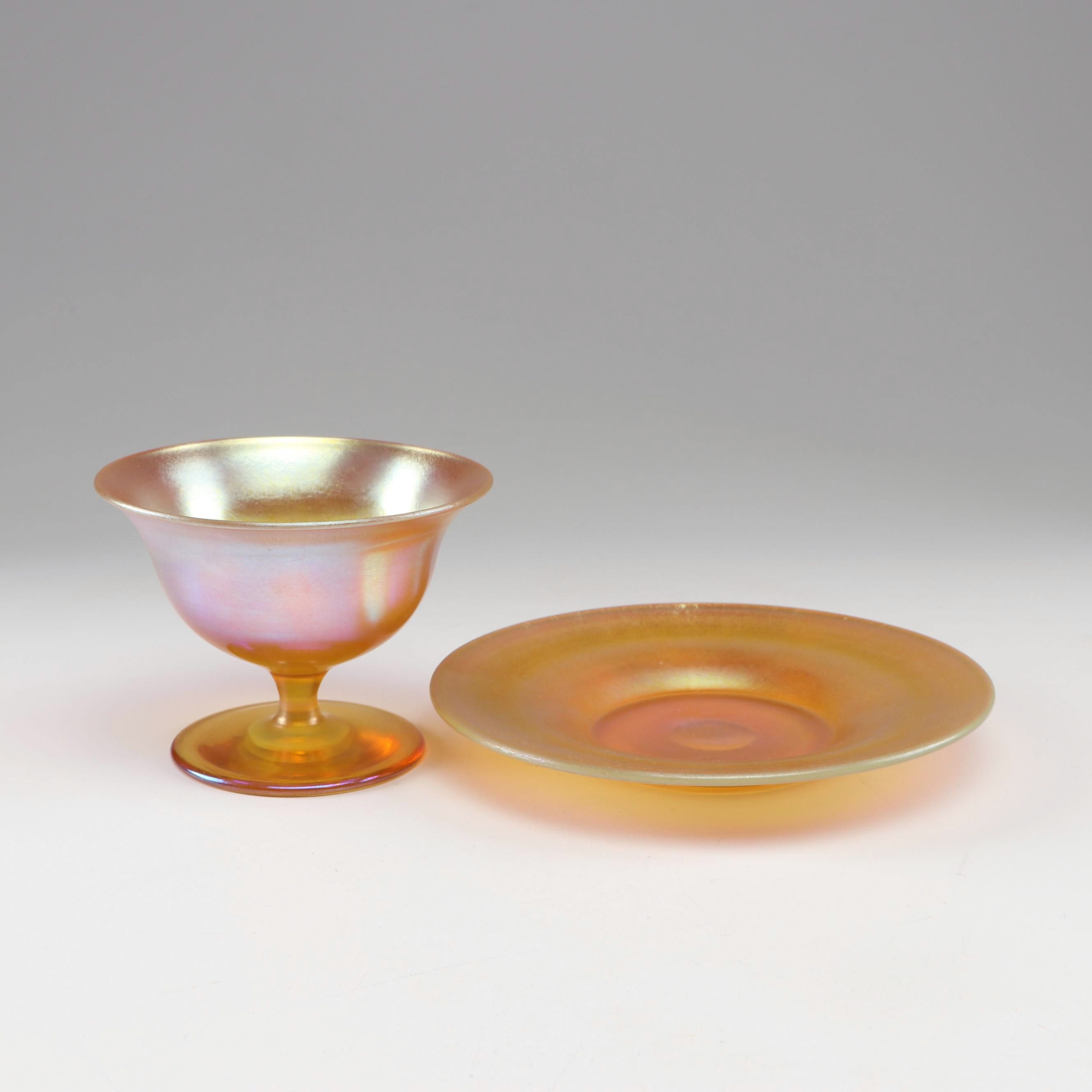 Tiffany Studios Style Iridescent Glass Sherbet Bowl and Plate