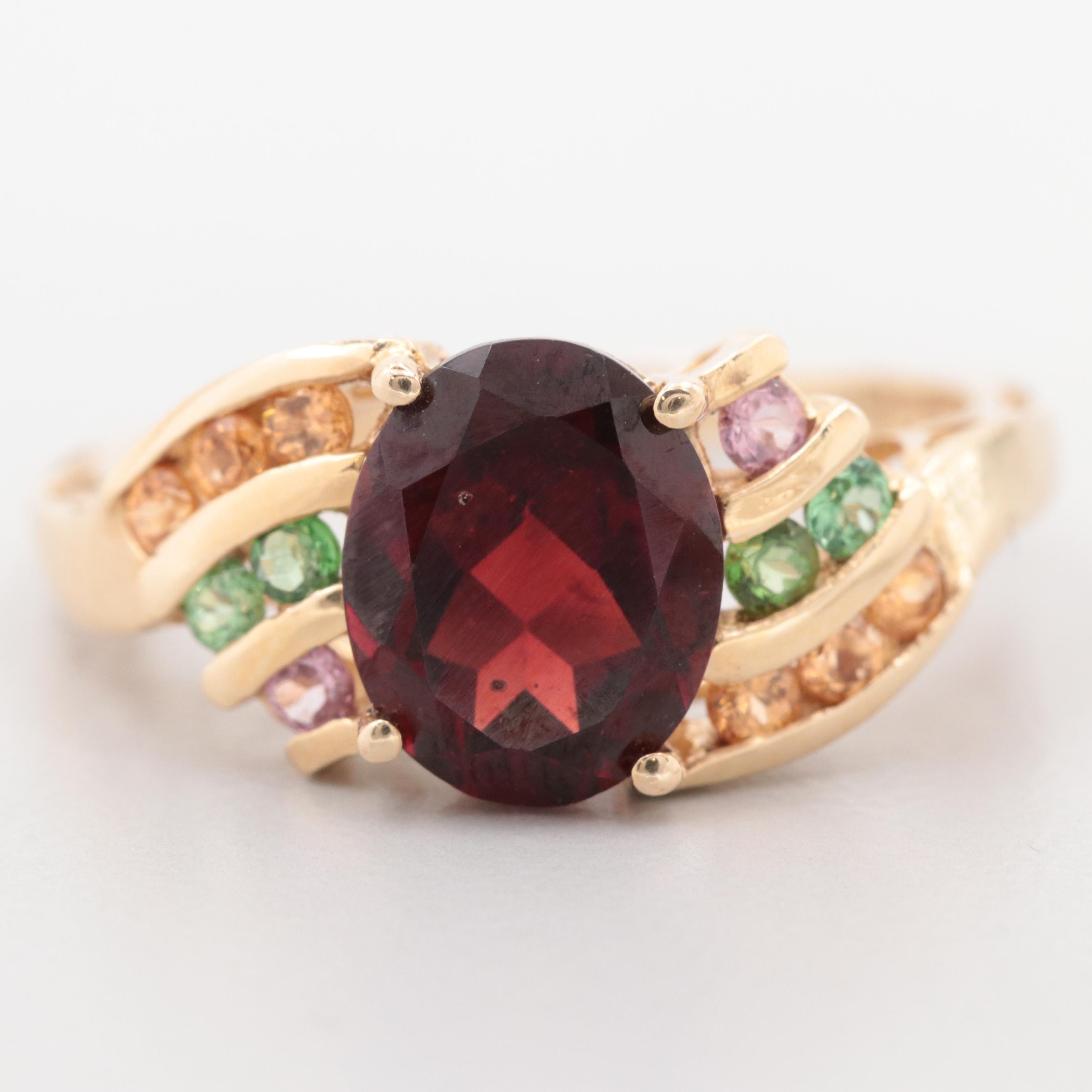 14K Yellow Gold Garnet, Pink Tourmaline, Peridot, and Citrine Ring with Openwork