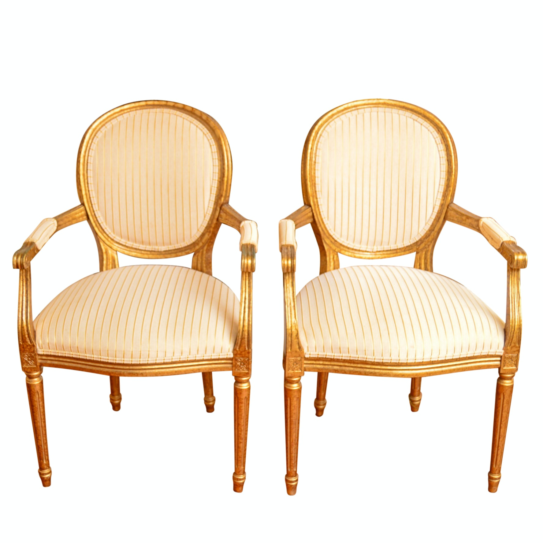 Pair of Italian Louis XVI Style Giltwood Fanteuils