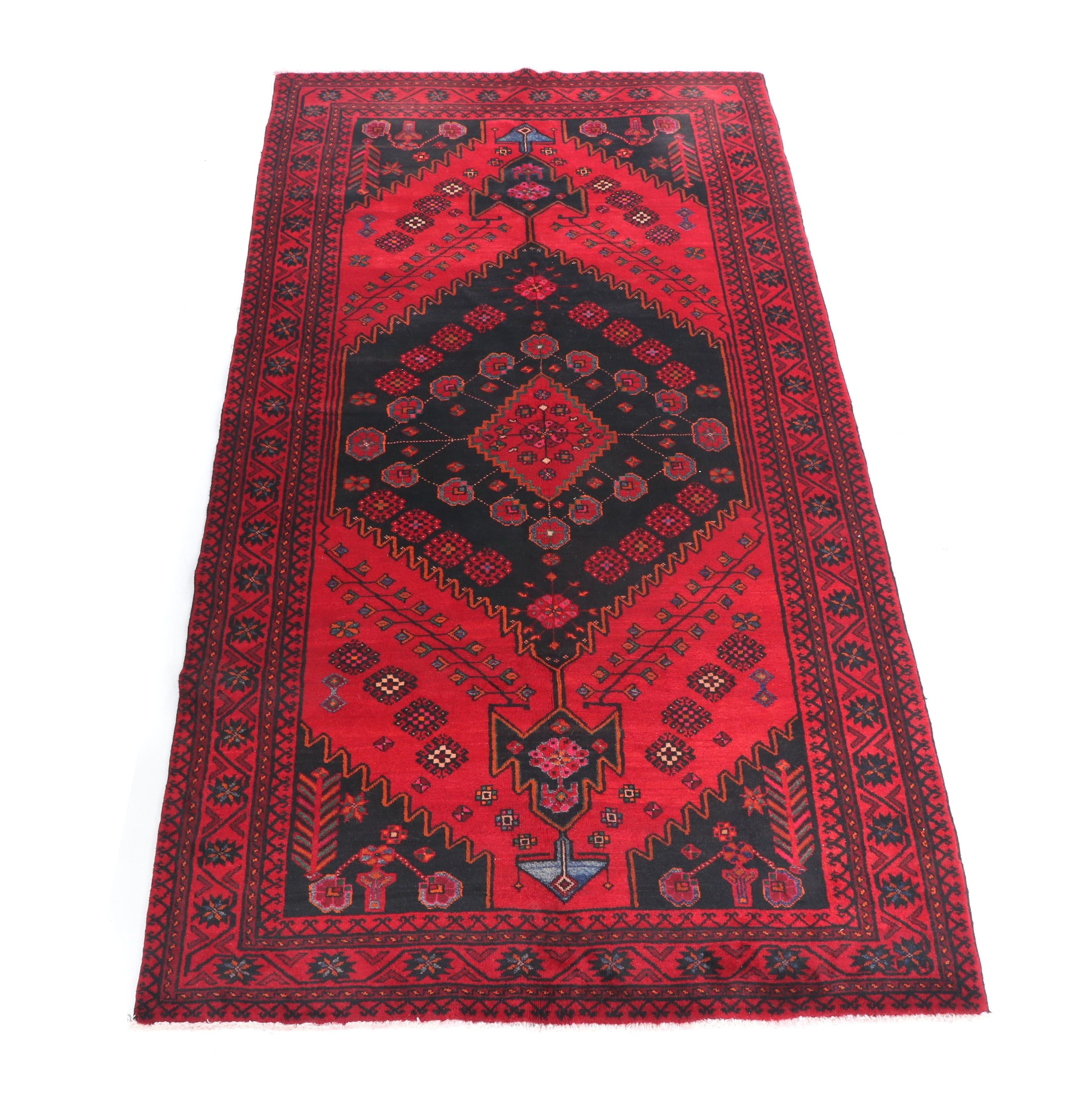 Hand-Knotted Persian Baluchi Wool Rug
