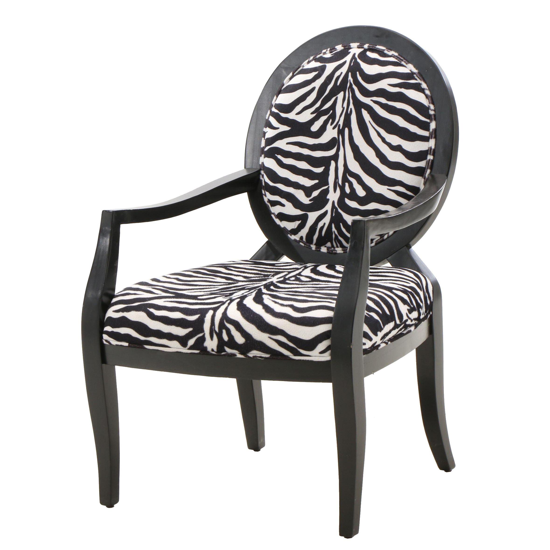 Zebra Print Upholstered Arm Chair