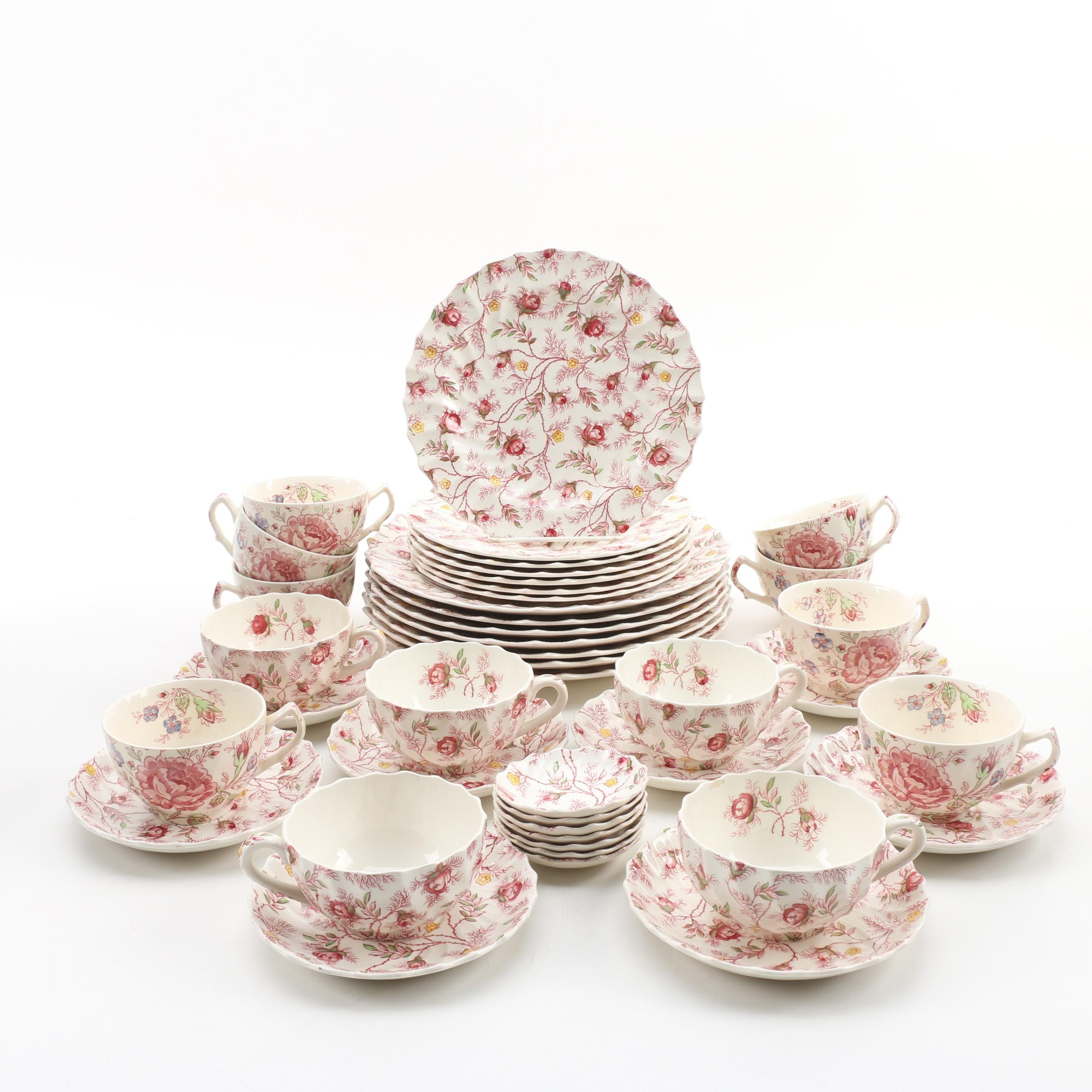 "Spode ""Rosebud Chintz"" Ceramic Dinnerware, Mid/Late 20th Century"