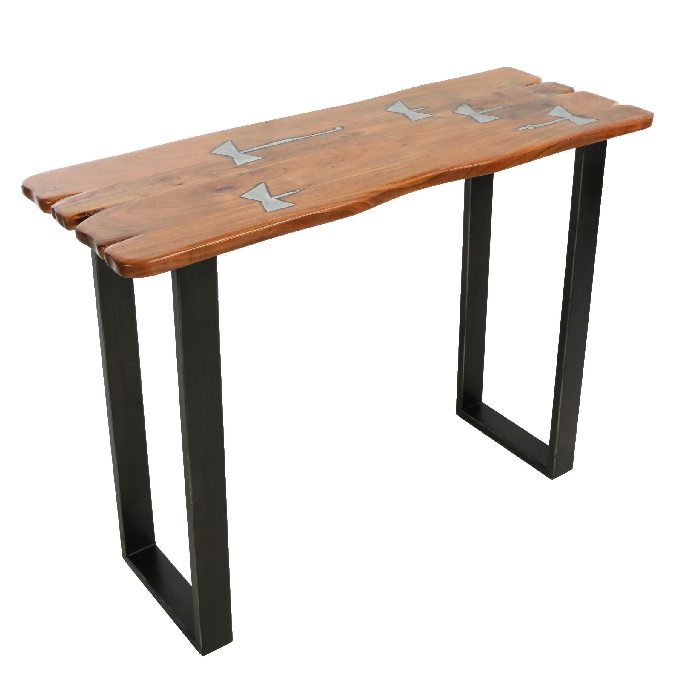 "Industrial Style ""Molten"" Acacia and Metal Console Table"