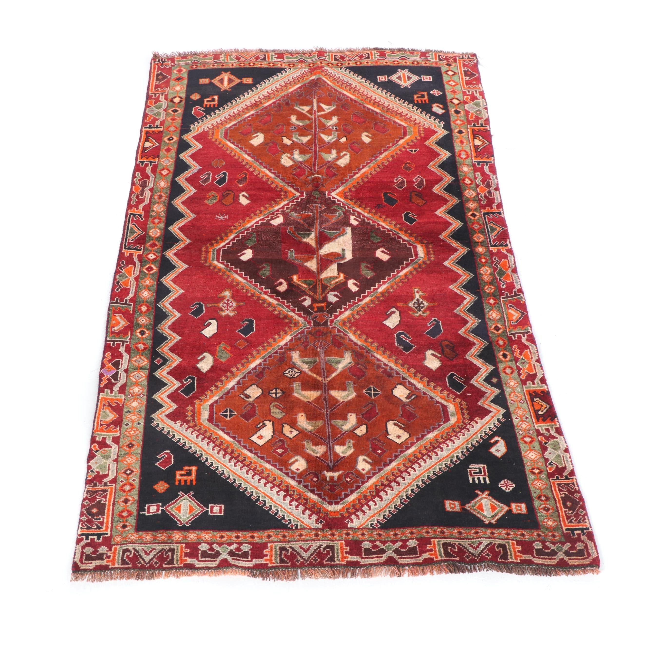 Hand-Knotted Persian Qashqai Gabbeh Wool Rug