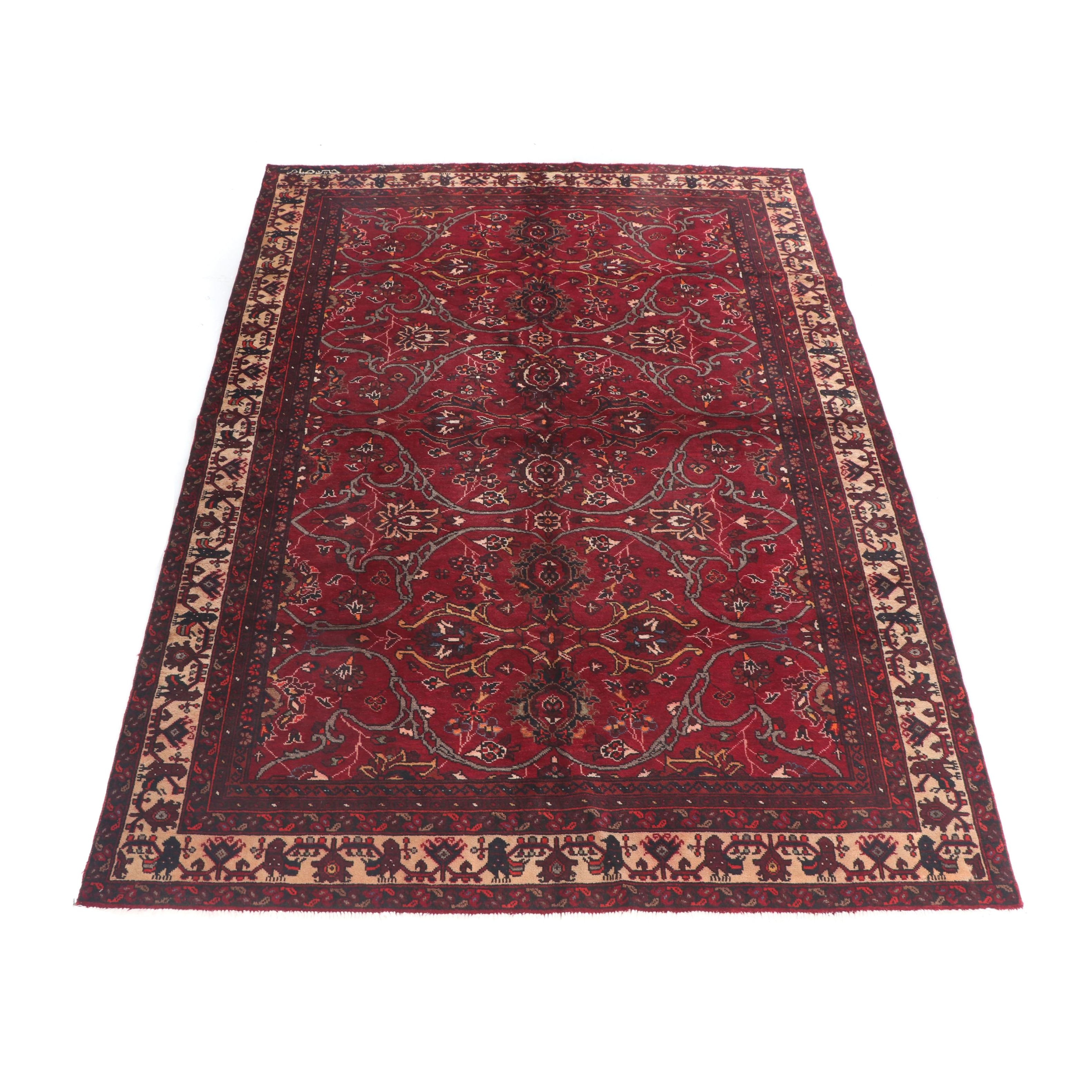Hand-Knotted, Signed Persian Baluch Wool Rug