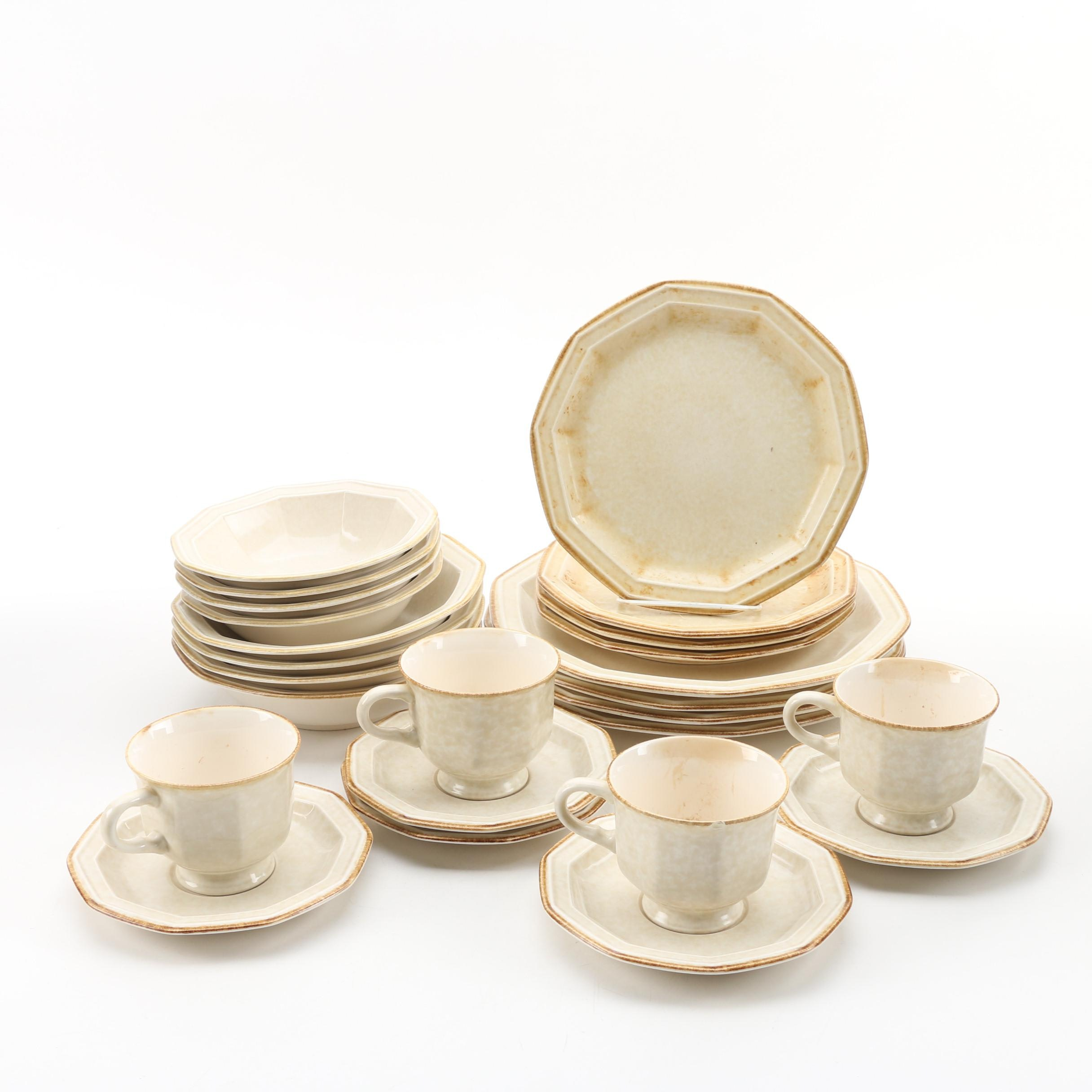 "Mikasa ""Avante Ivory"" Earthenware Dinnerware for Four, 1980s"