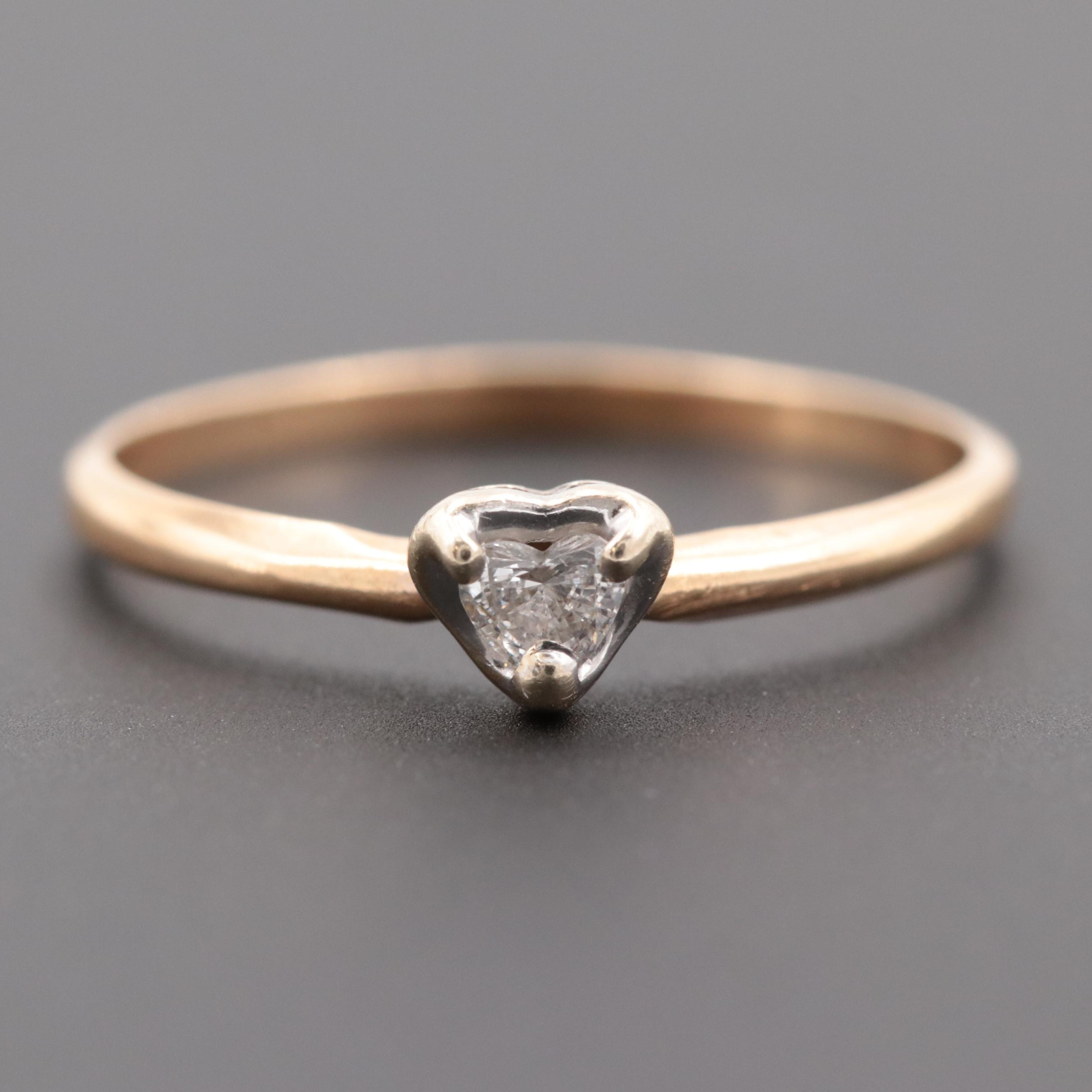 14K Yellow Gold Diamond Heart Solitaire Ring