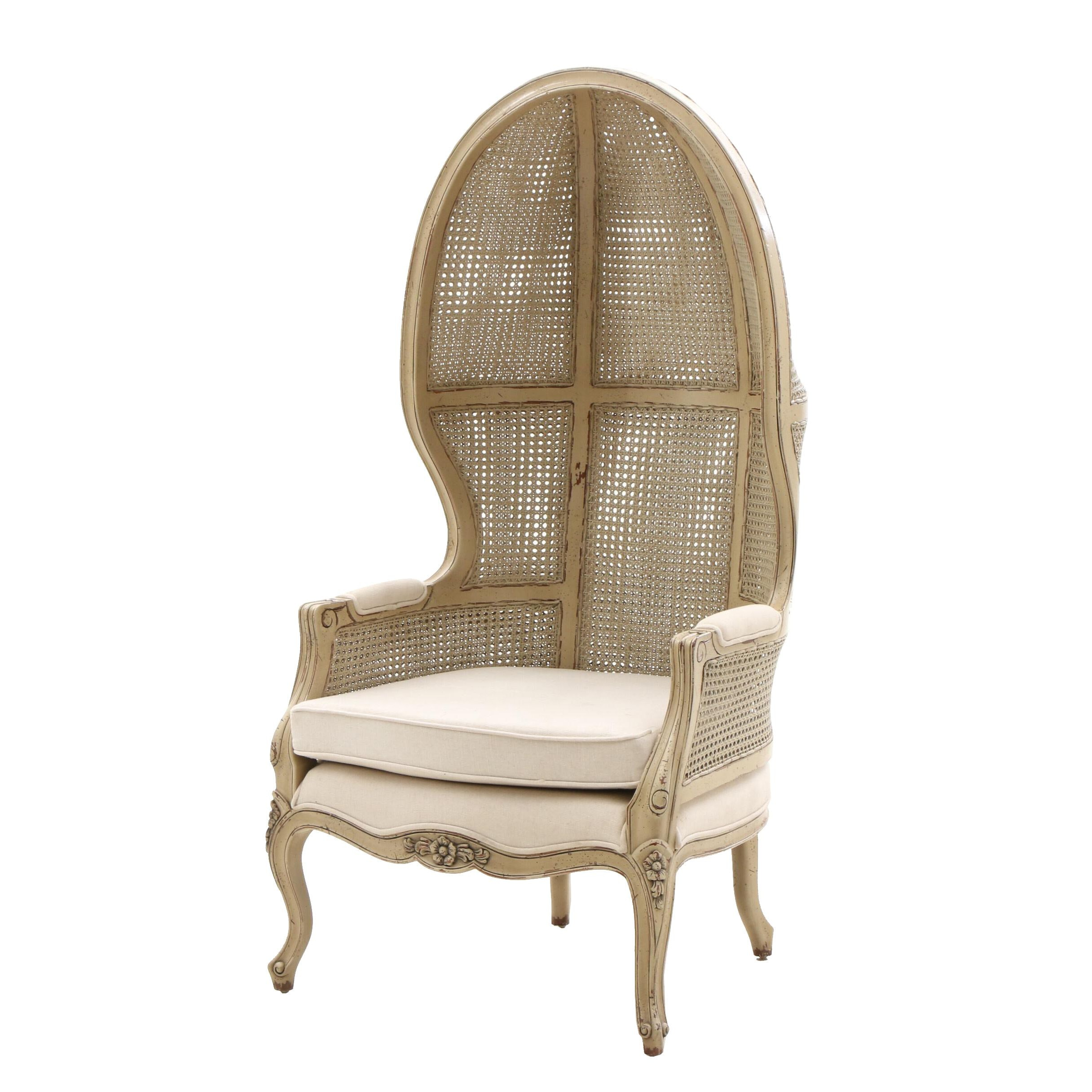 Contemporary Caned-Back Porter's Chair with White Cushion, Louis XV in Style