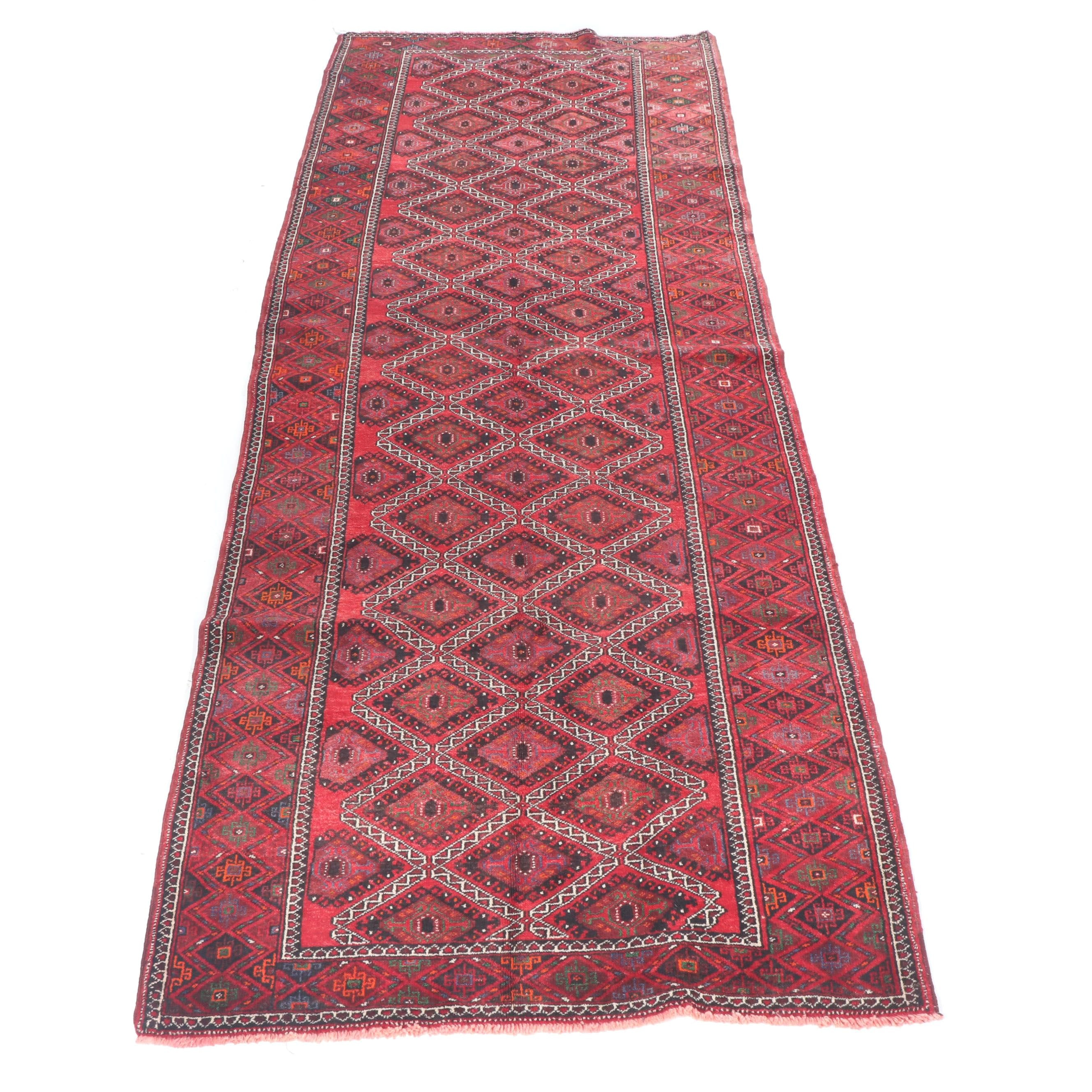 Hand-Knotted Persian Baluch Wool Long Rug