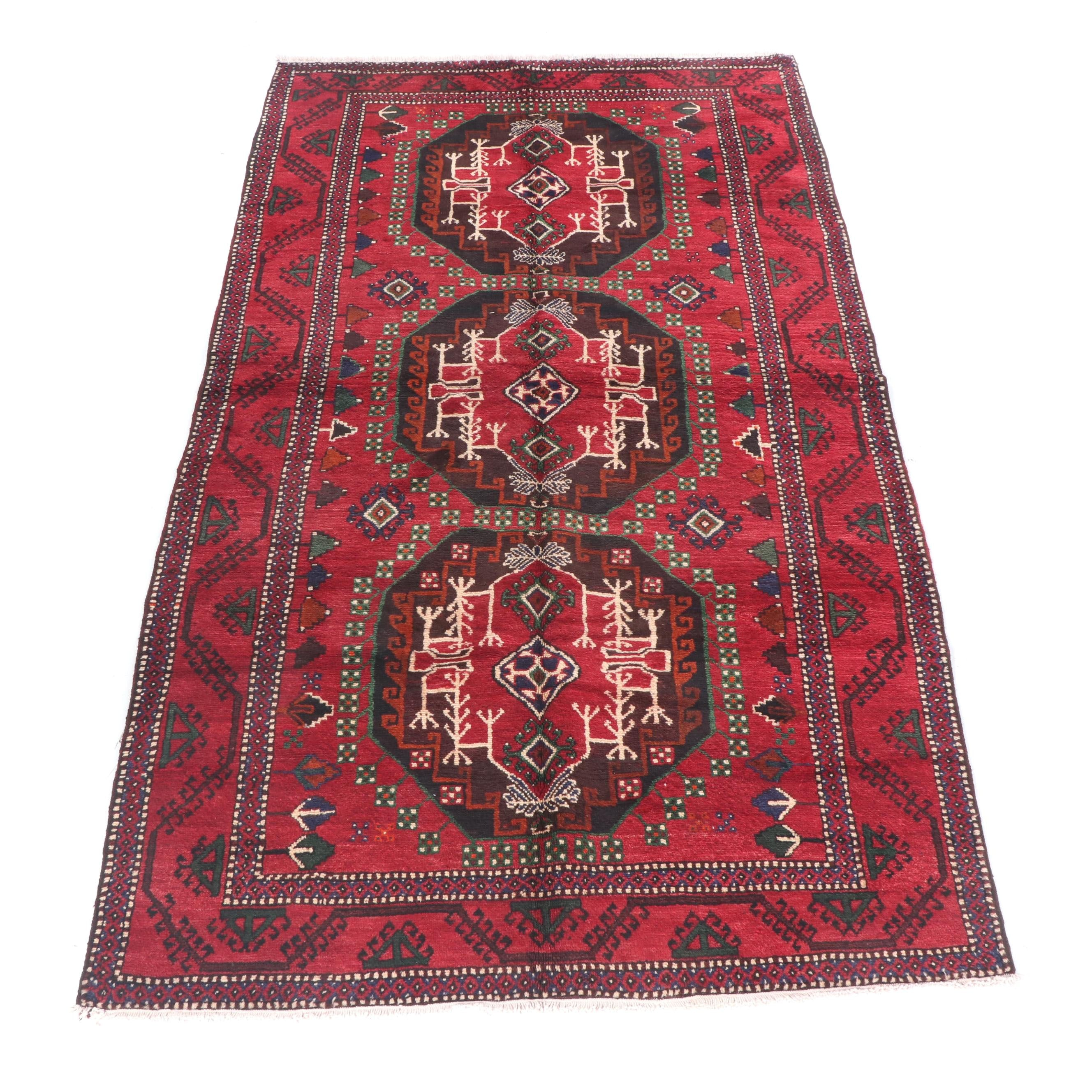 Hand-Knotted Persian Baluch Yomut Wool Rug
