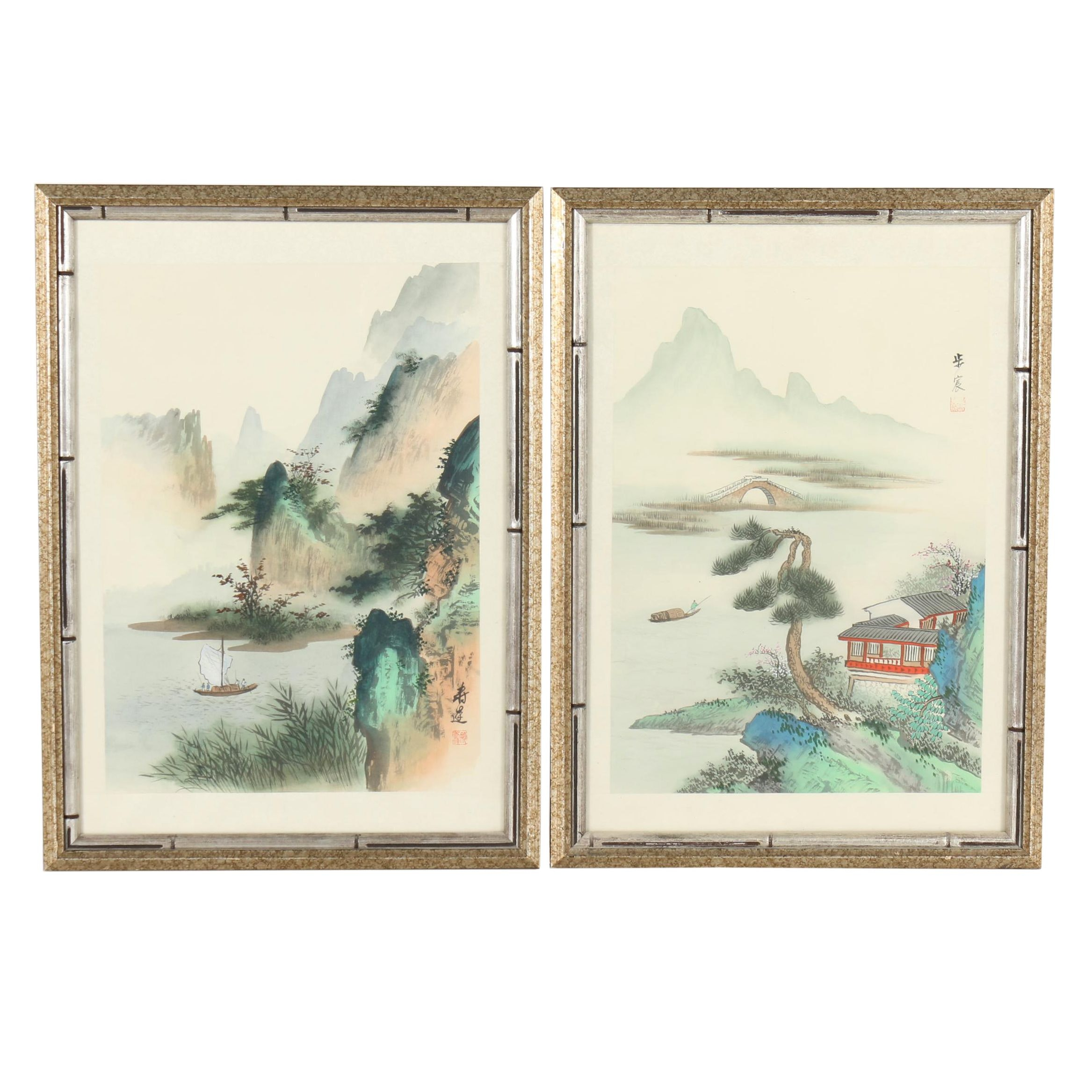 Chinese Watercolor Paintings on Silk