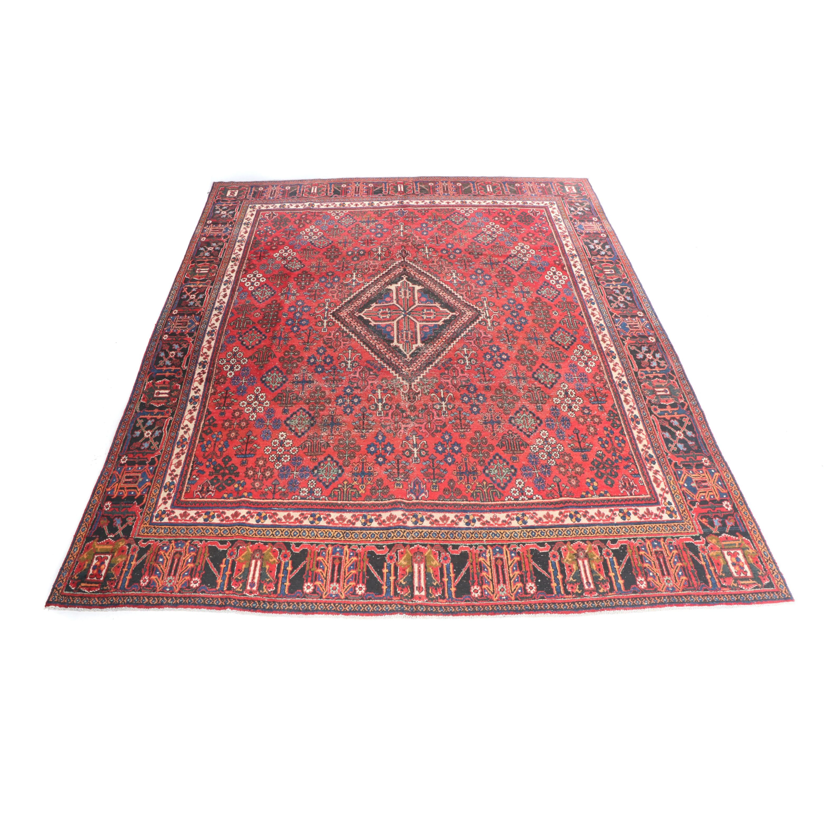 Hand-Knotted Persian Joshaghan Wool Rug