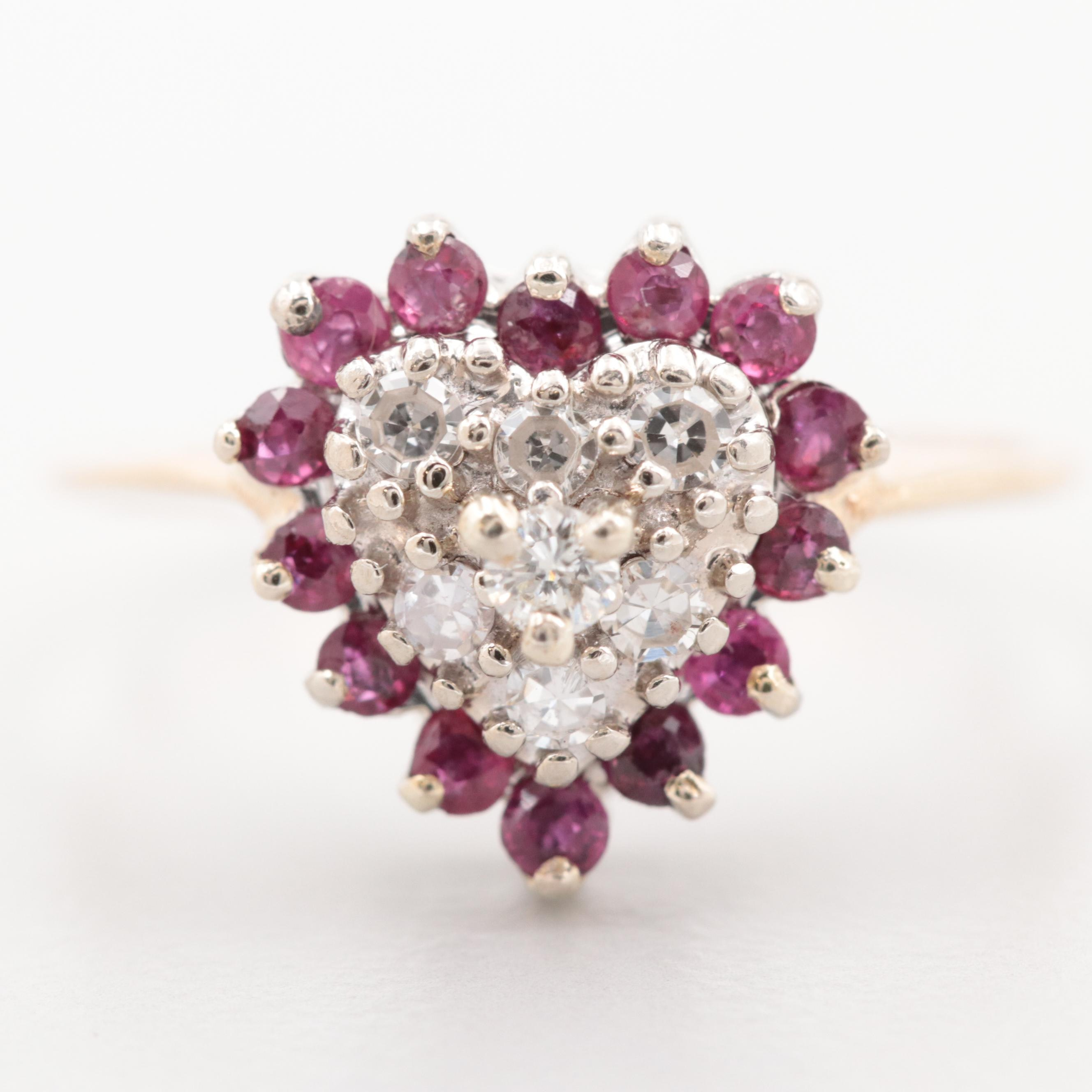 14K Yellow Gold Diamond and Ruby Cluster Heart Ring