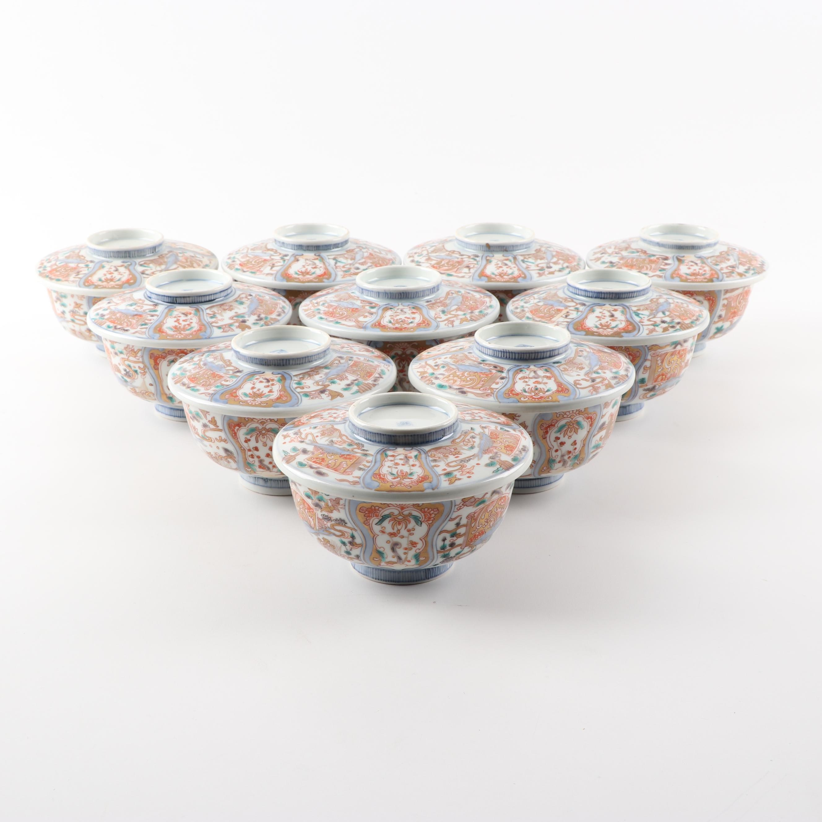 Japanese Imari Soup Bowls with Lids