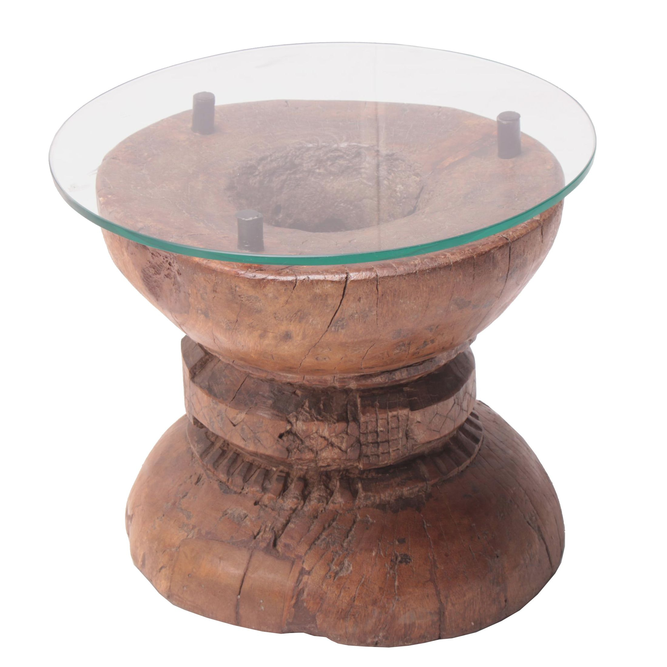 Converted Indian Wooden Rice Grinder Accent Table