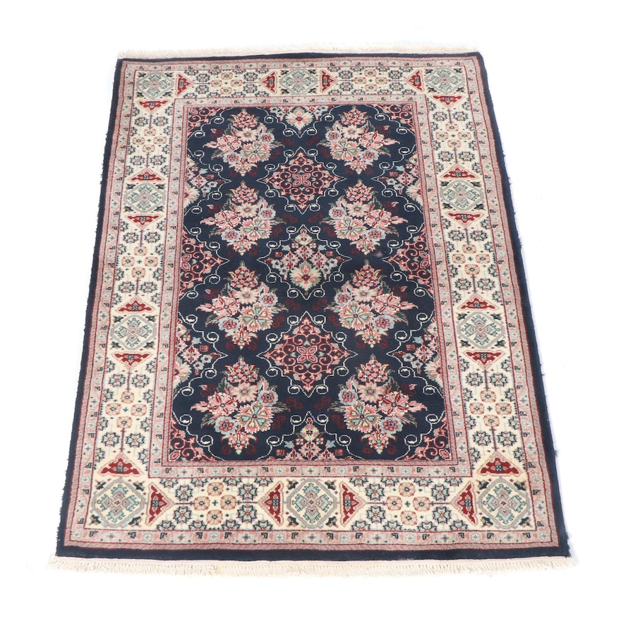 Hand Knotted Indian Kashan Wool Rug Ebth