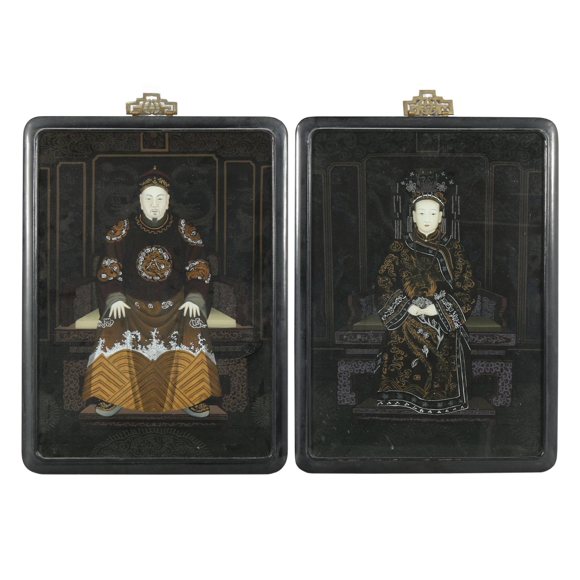 Chinese Reverse Painted Glass Portraits